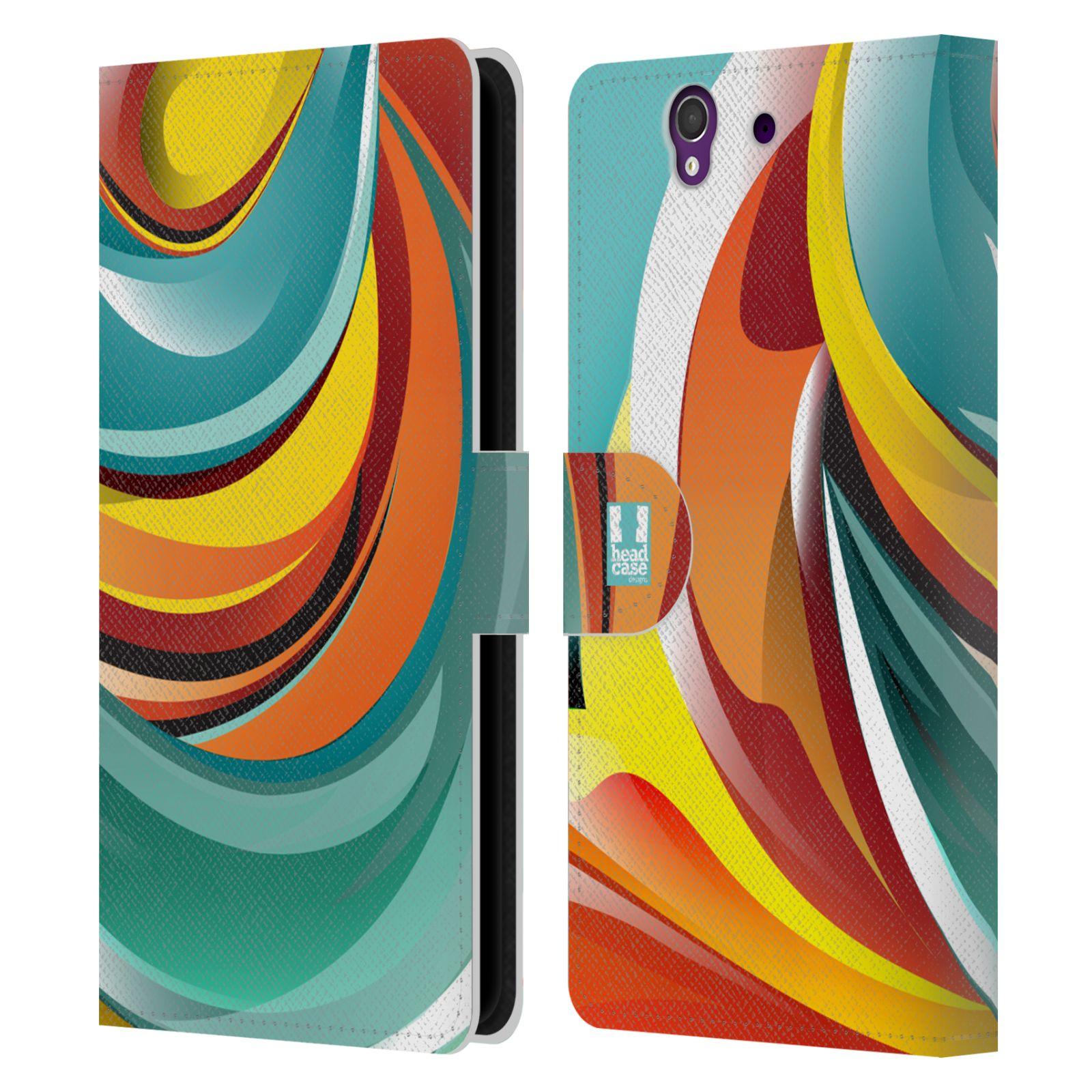 HEAD CASE Flipové pouzdro pro mobil SONY XPERIA Z (C6603) barevný mramor oranžová a modrá