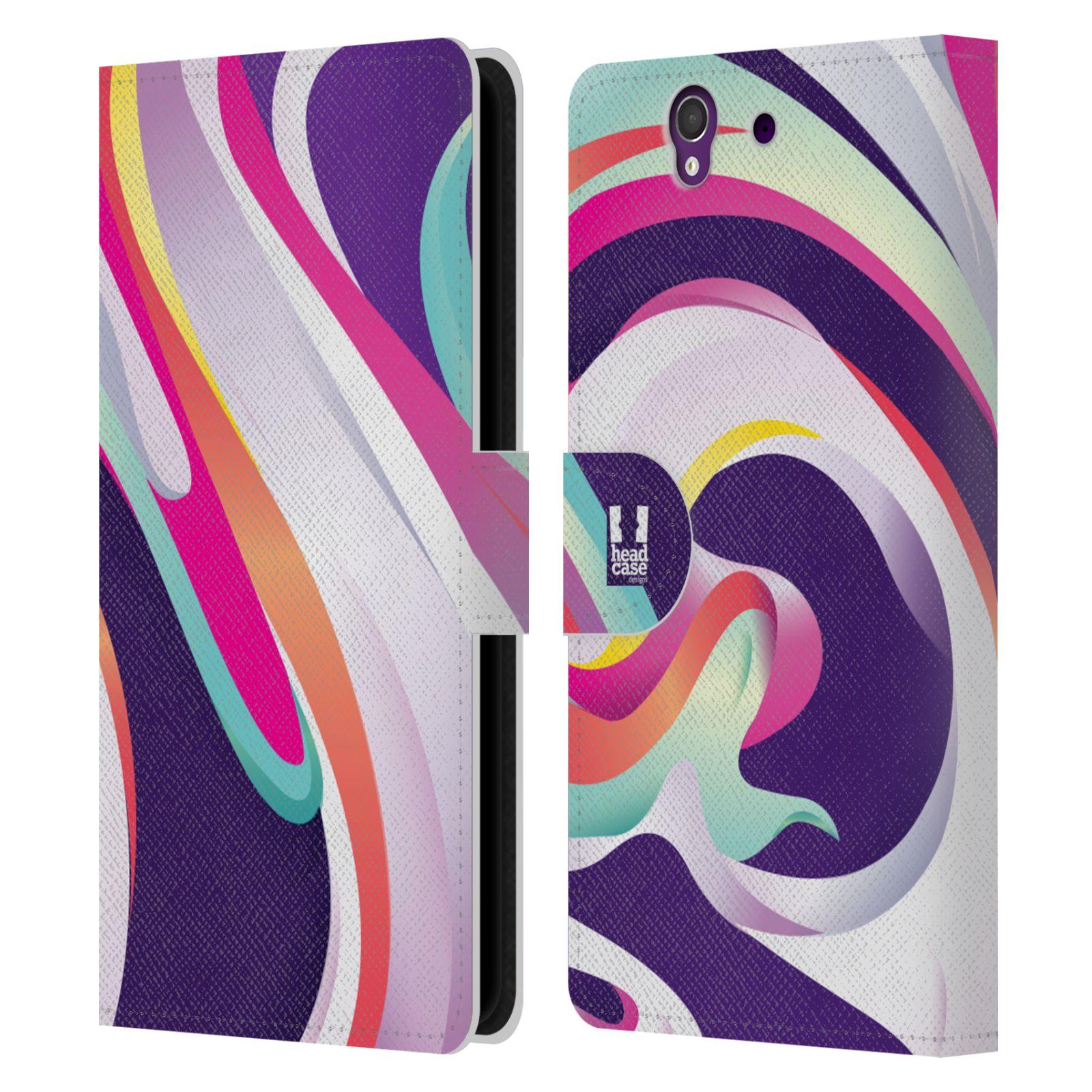 HEAD CASE Flipové pouzdro pro mobil SONY XPERIA Z (C6603) barevný mramor GELATO fialová a růžová