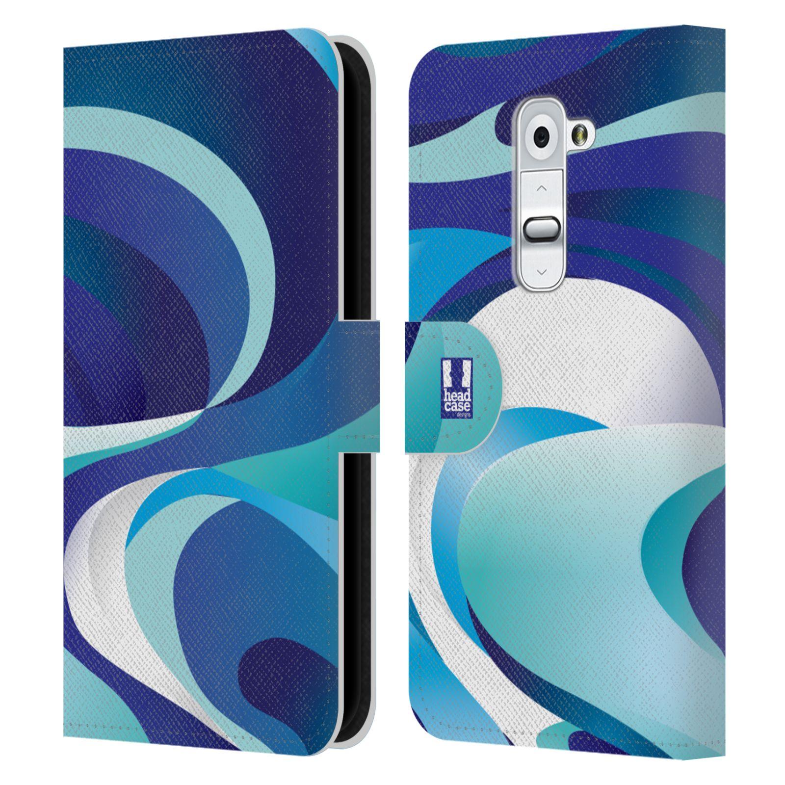 HEAD CASE Flipové pouzdro pro mobil LG G2 (D802) barevný mramor modrá AQUA