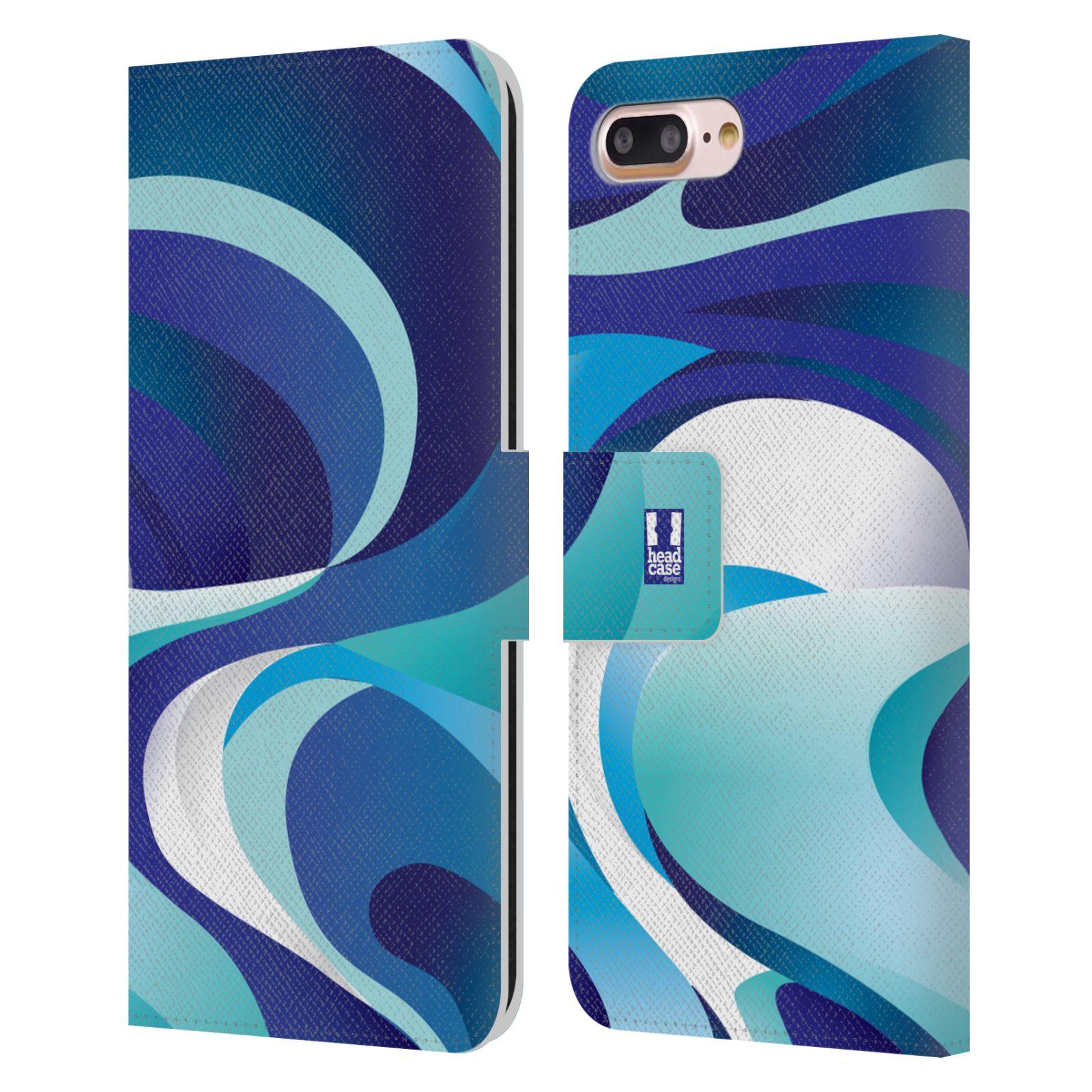 HEAD CASE Flipové pouzdro pro mobil Apple Iphone 7 PLUS / 8 PLUS barevný mramor modrá AQUA
