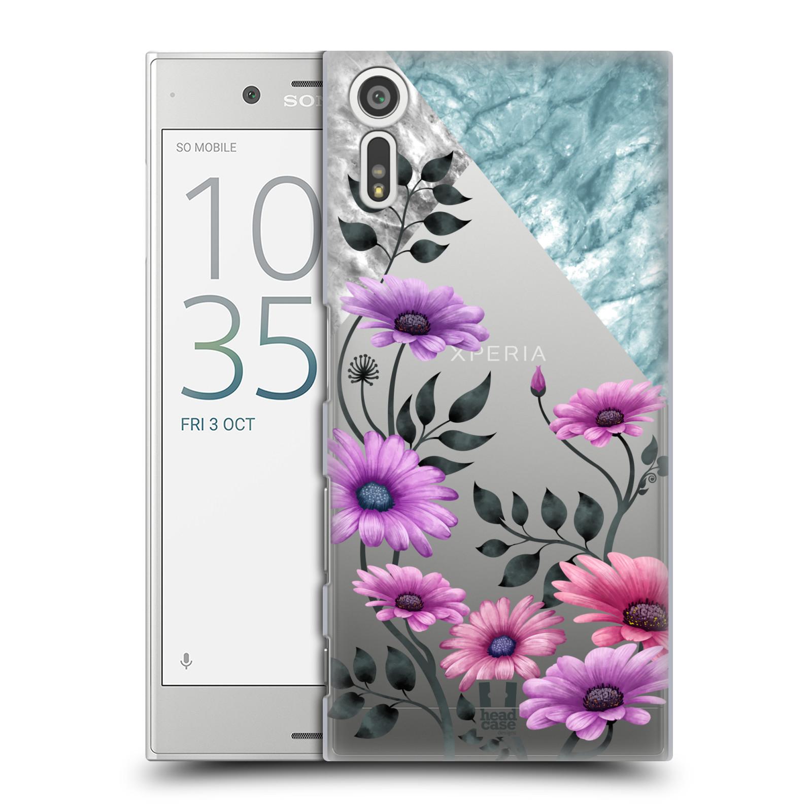 HEAD CASE plastový obal na mobil Sony Xperia XZ květiny hvězdnice, Aster fialová a modrá