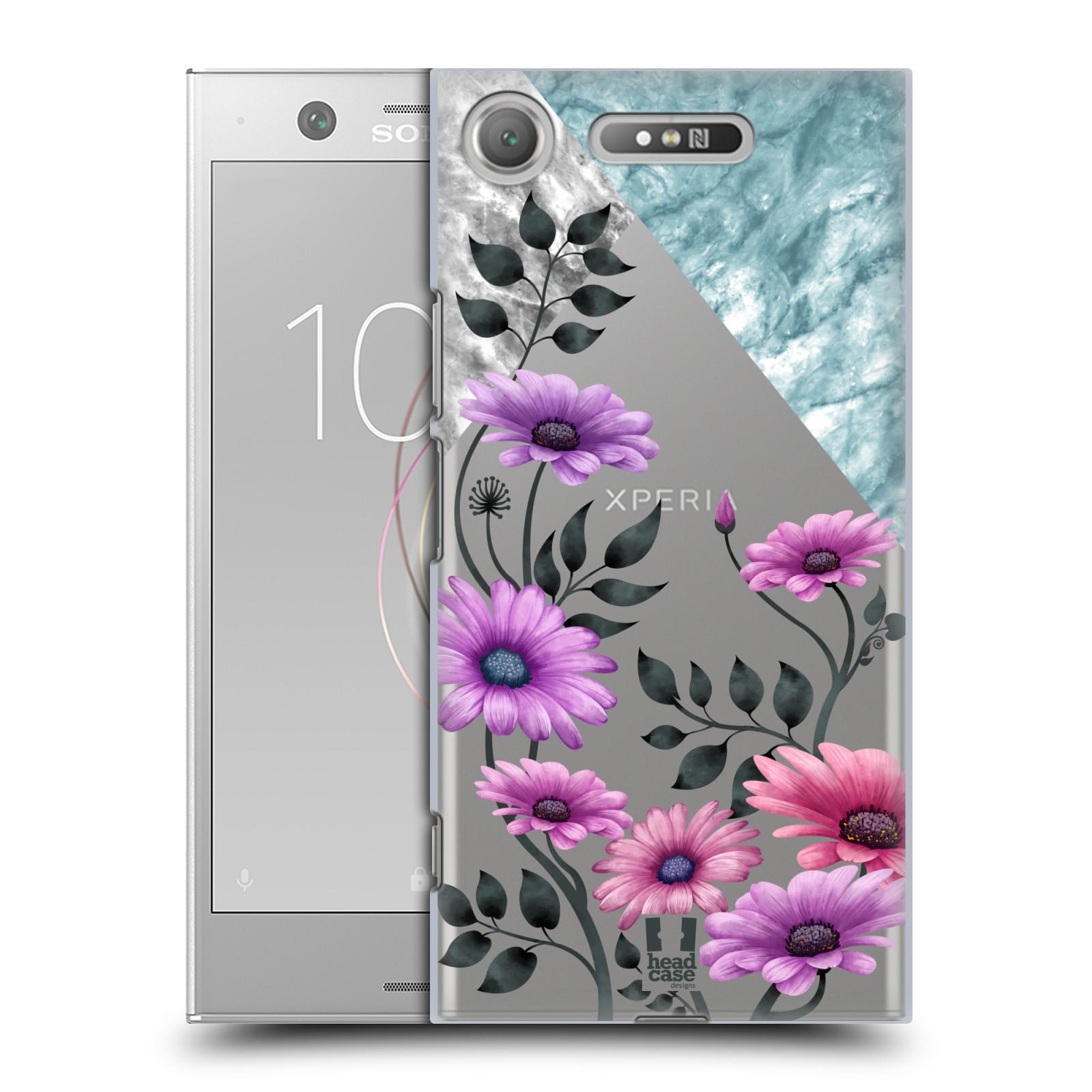 HEAD CASE plastový obal na mobil Sony Xperia XZ1 květiny hvězdnice, Aster fialová a modrá