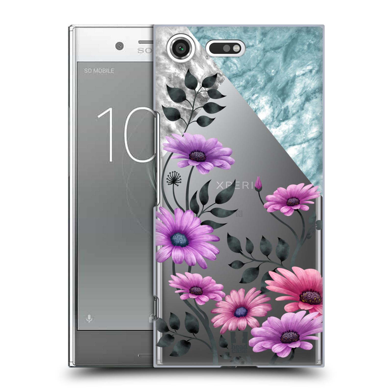 HEAD CASE plastový obal na mobil Sony Xperia XZ PREMIUM květiny hvězdnice, Aster fialová a modrá