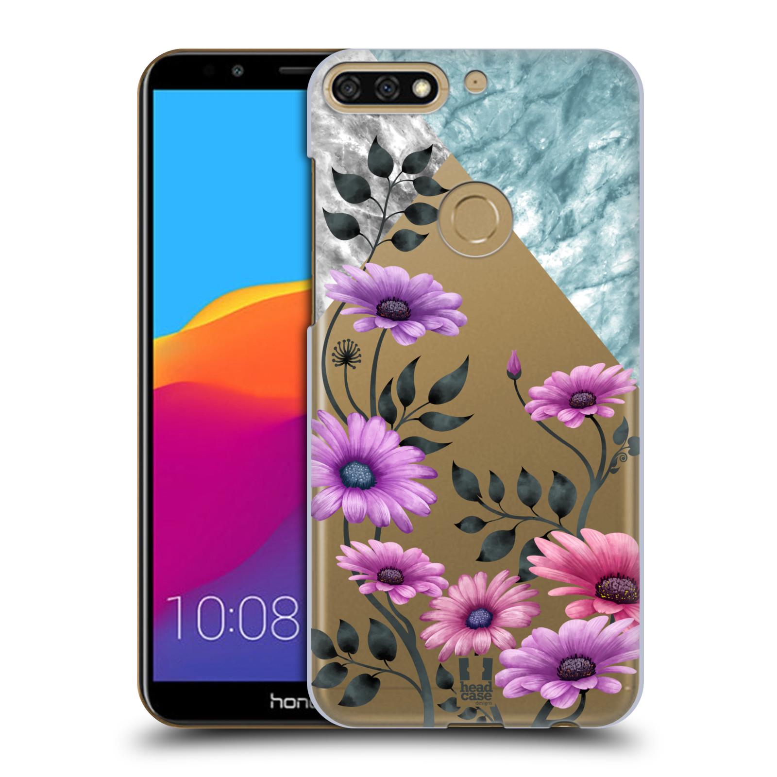 HEAD CASE plastový obal na mobil Honor 7c květiny hvězdnice, Aster fialová a modrá