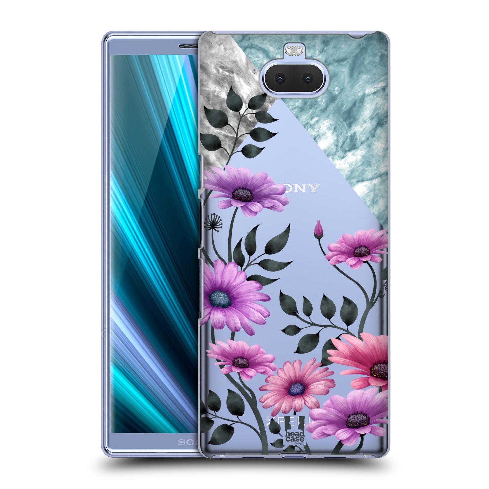 Pouzdro na mobil Sony Xperia 10 Plus - Head Case - květiny hvězdnice, Aster fialová a modrá