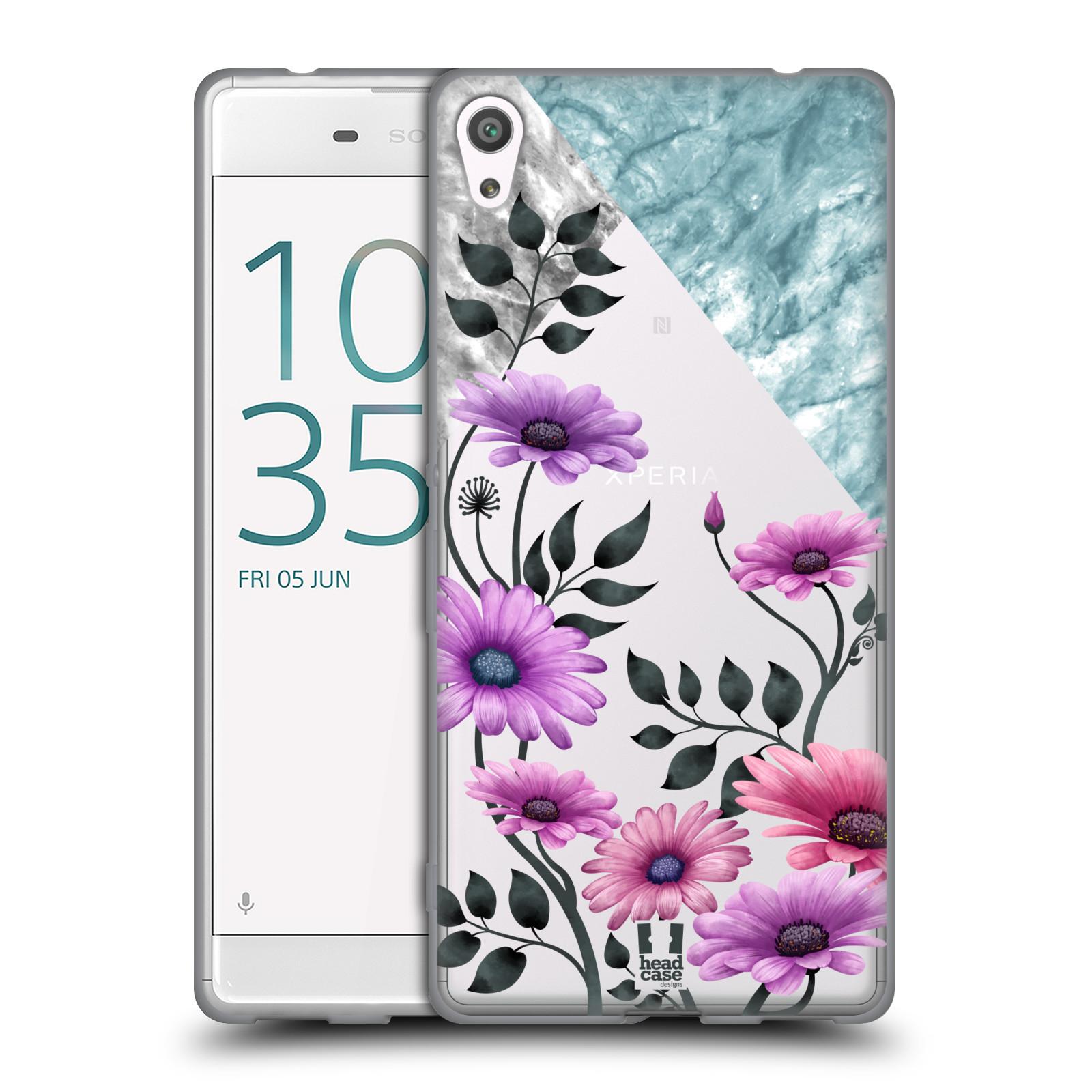HEAD CASE silikonový obal na mobil Sony Xperia XA ULTRA květiny hvězdnice, Aster fialová a modrá