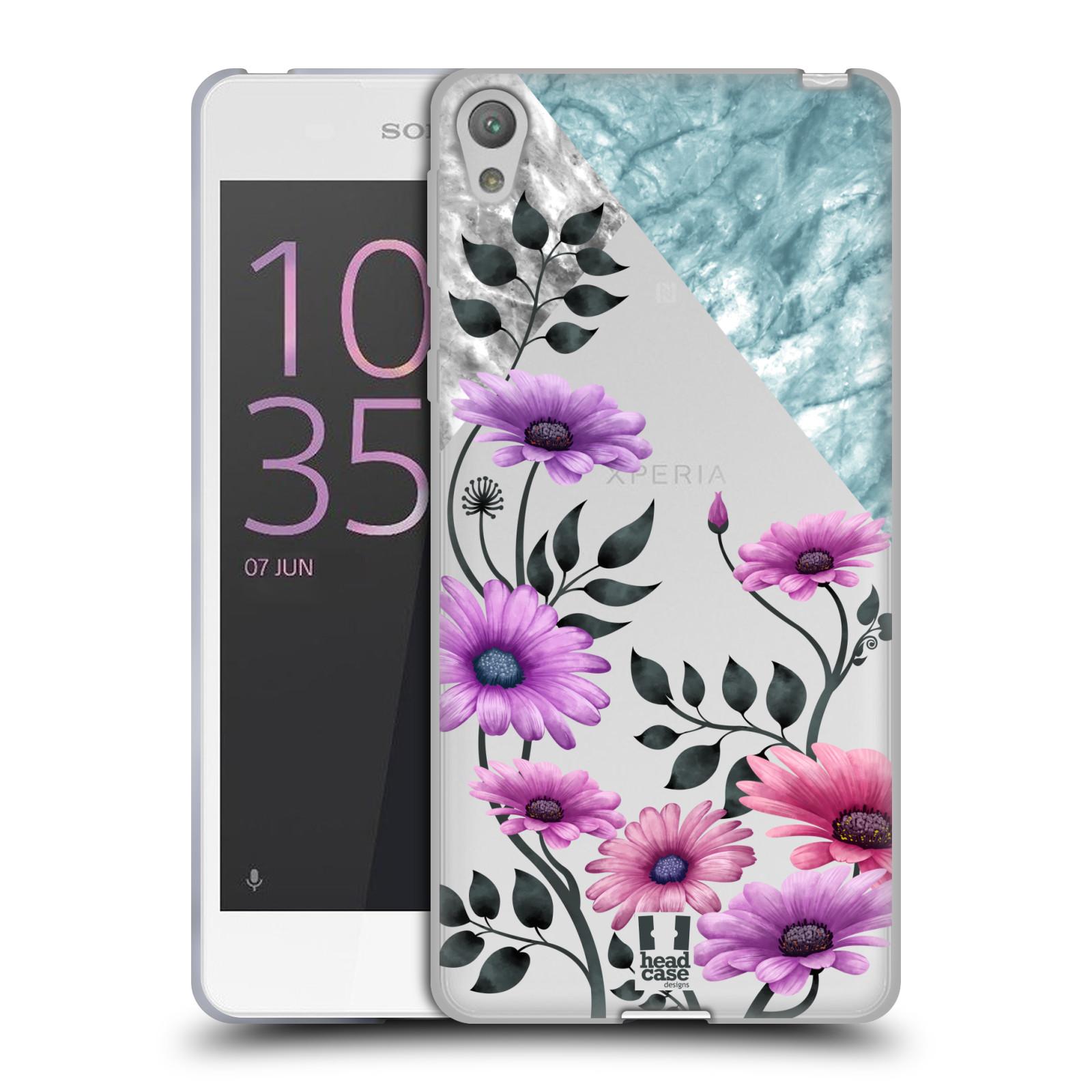HEAD CASE silikonový obal na mobil Sony Xperia E5 květiny hvězdnice, Aster fialová a modrá