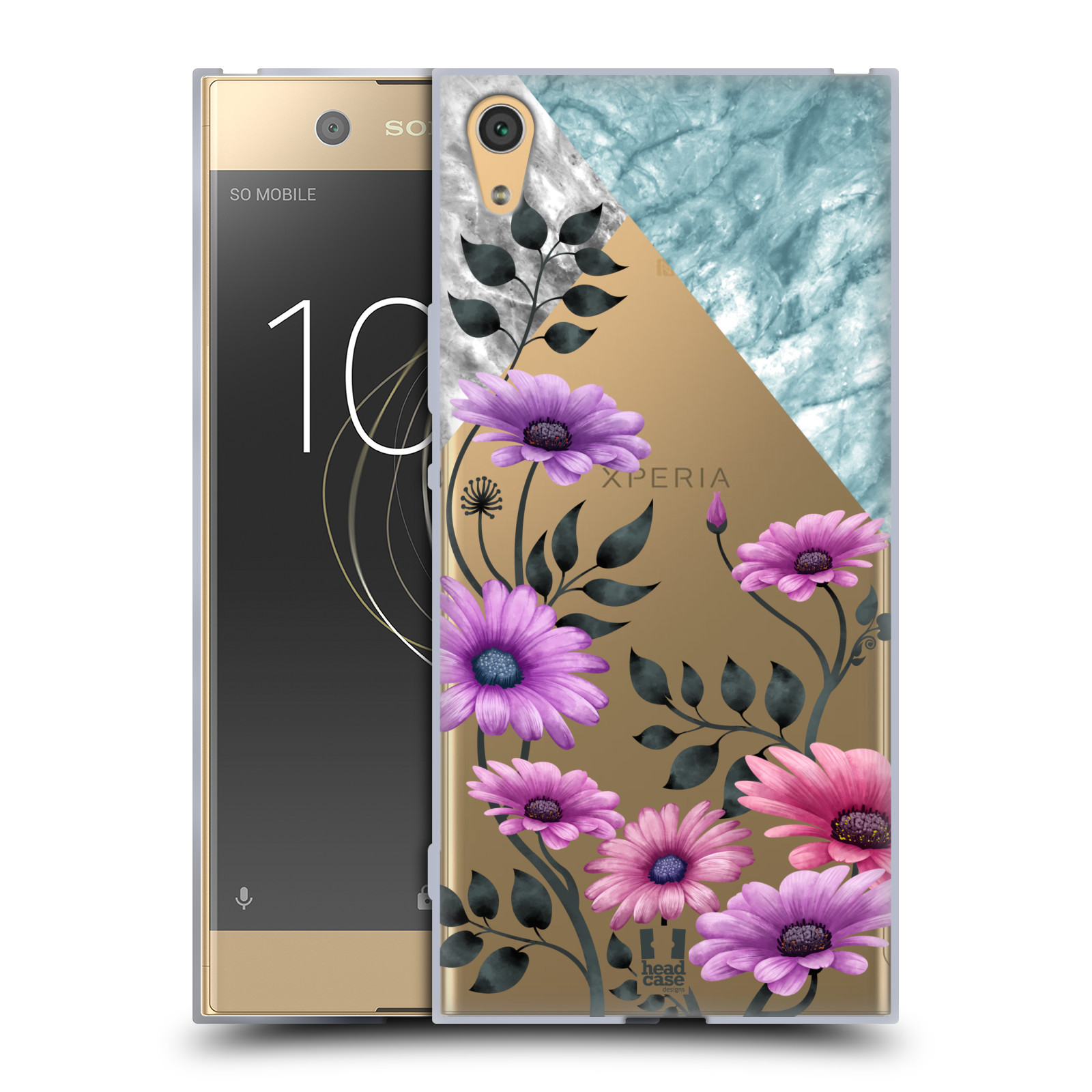 HEAD CASE silikonový obal na mobil Sony Xperia XA1 ULTRA květiny hvězdnice, Aster fialová a modrá