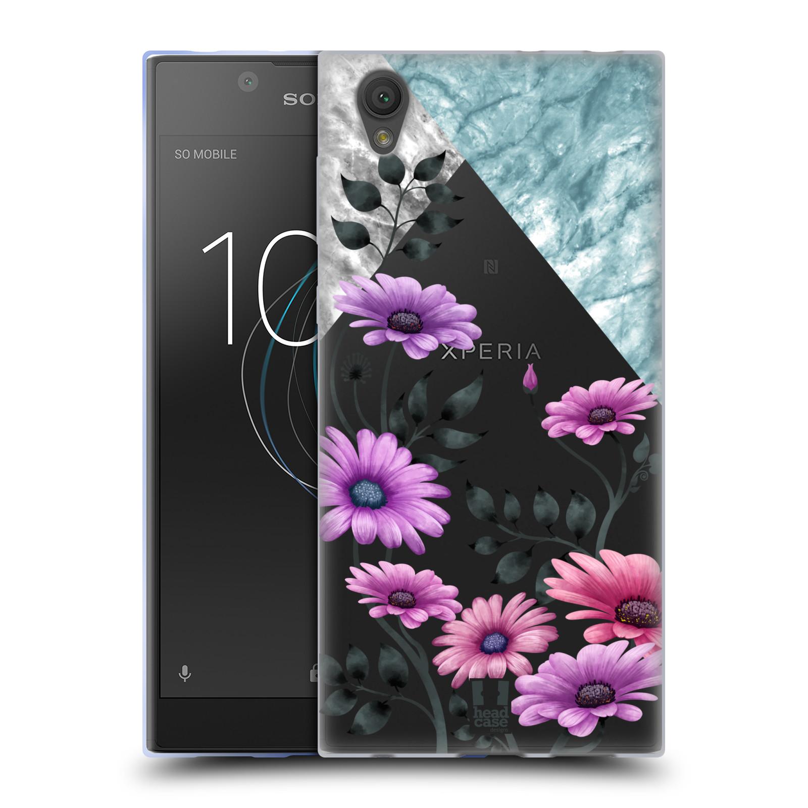 HEAD CASE silikonový obal na mobil Sony Xperia L1 květiny hvězdnice, Aster fialová a modrá