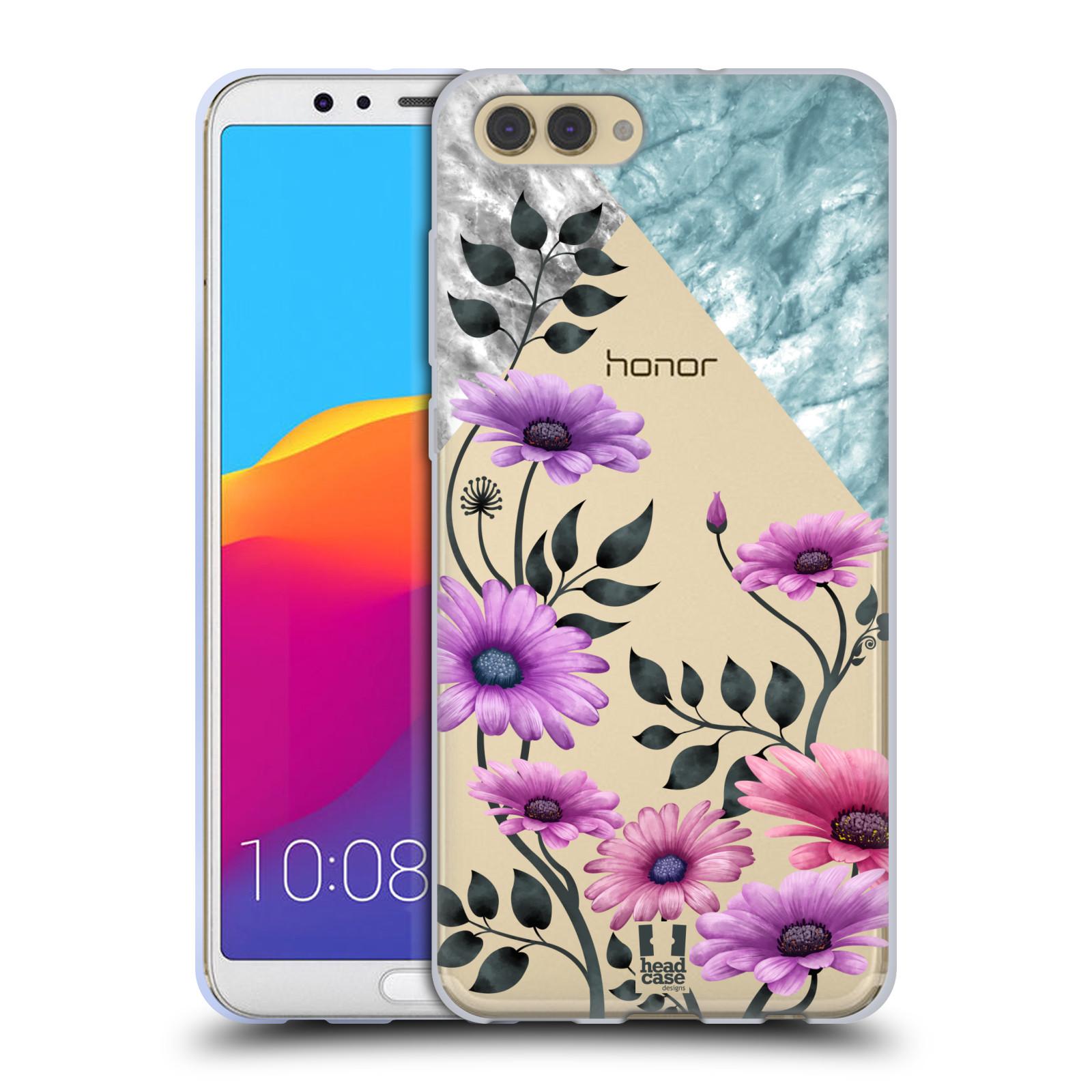 HEAD CASE silikonový obal na mobil Huawei HONOR VIEW 10 / V10 květiny hvězdnice, Aster fialová a modrá