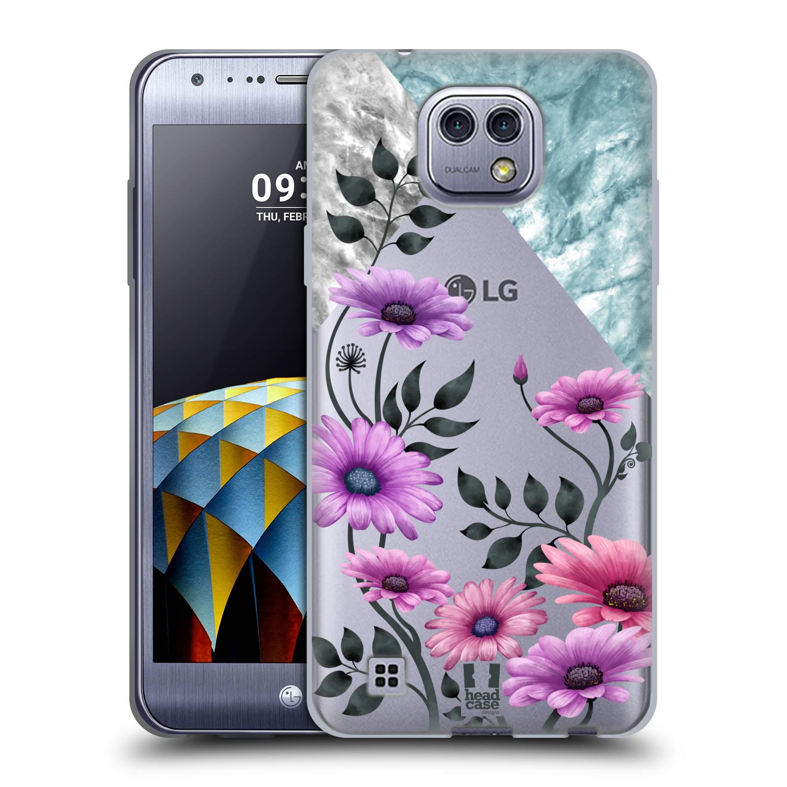 HEAD CASE silikonový obal na mobil LG X CAM květiny hvězdnice, Aster fialová a modrá