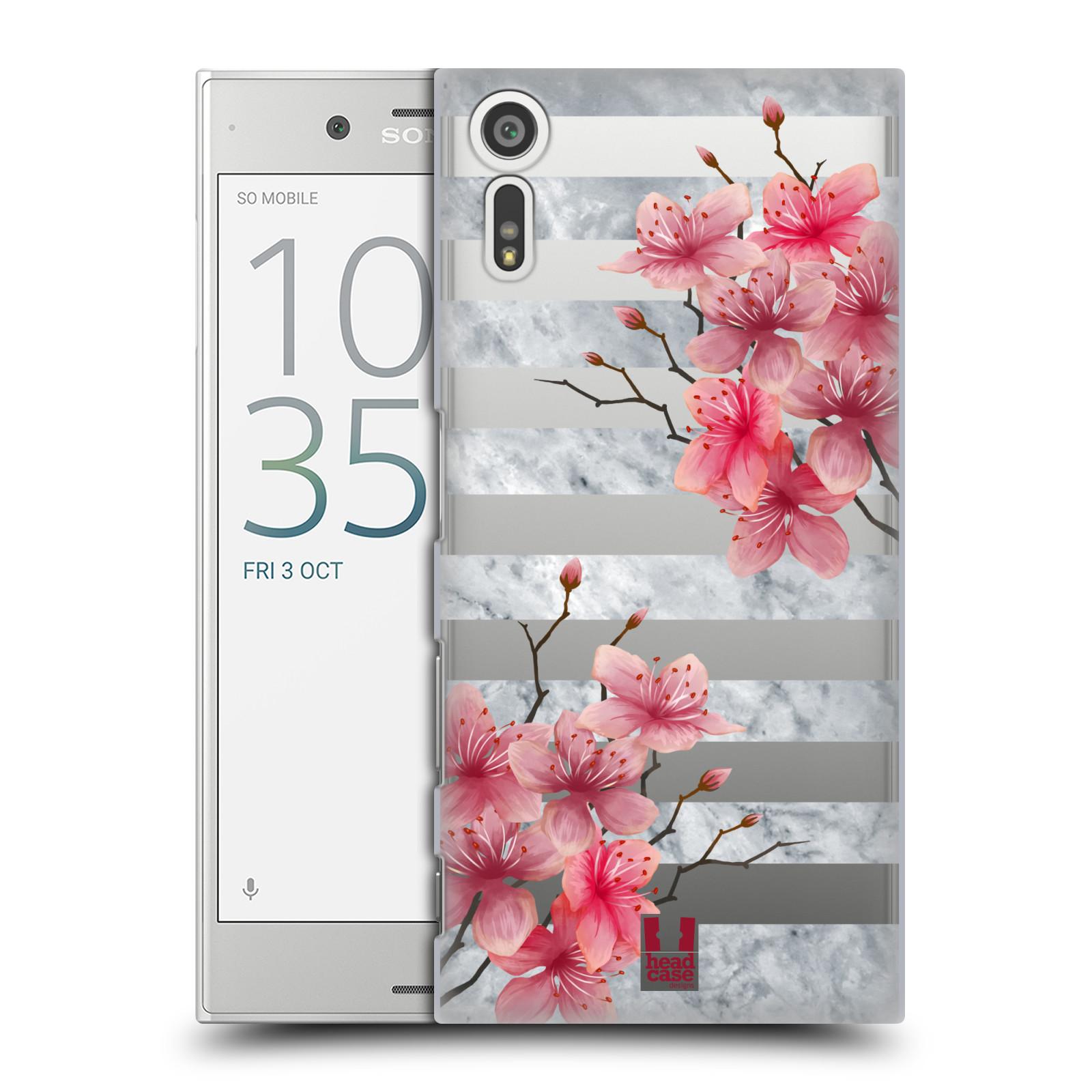 HEAD CASE plastový obal na mobil Sony Xperia XZ růžové květy v rozkvětu a mramor