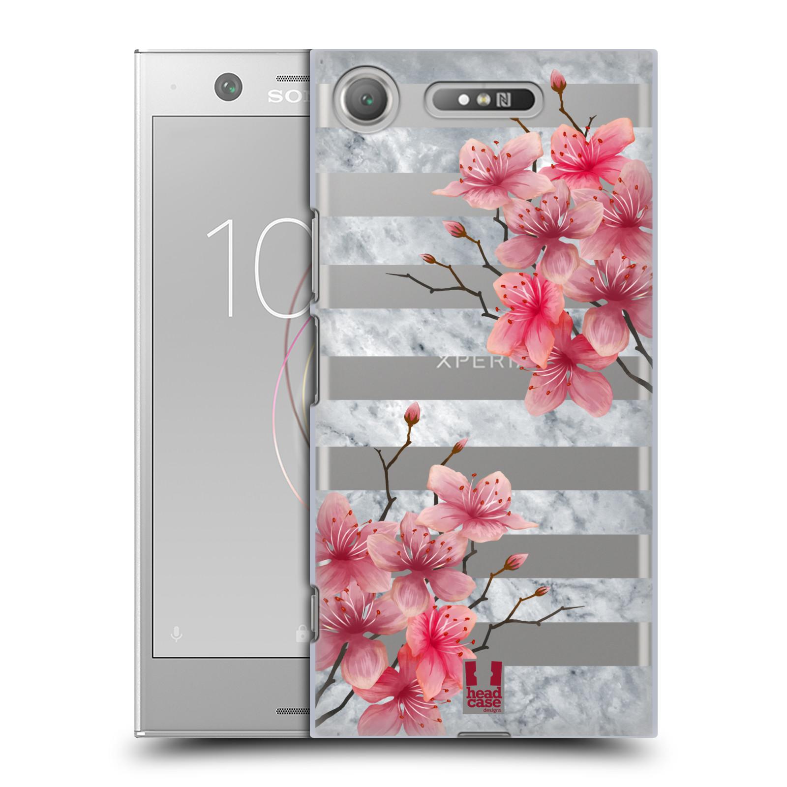 HEAD CASE plastový obal na mobil Sony Xperia XZ1 růžové květy v rozkvětu a mramor