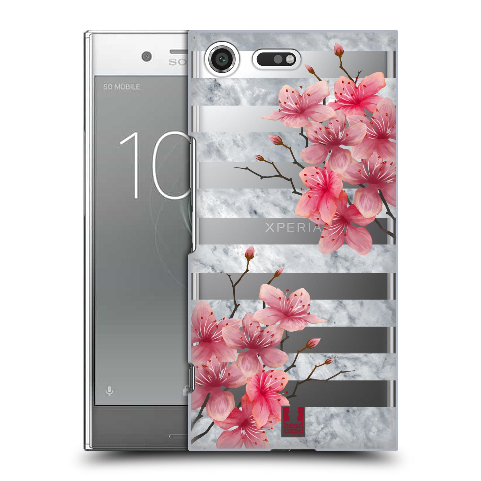 HEAD CASE plastový obal na mobil Sony Xperia XZ PREMIUM růžové květy v rozkvětu a mramor