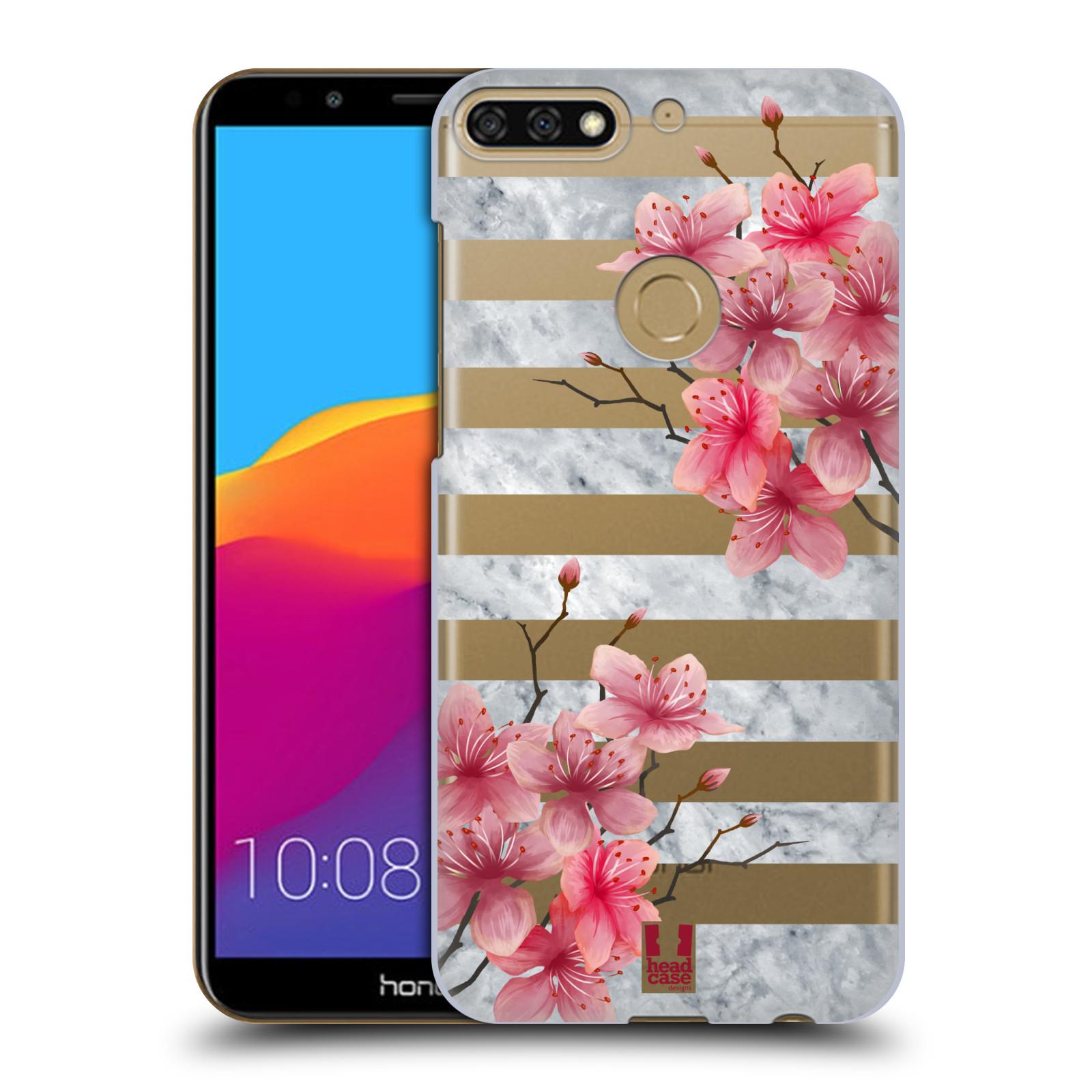 HEAD CASE plastový obal na mobil Honor 7c růžové květy v rozkvětu a mramor