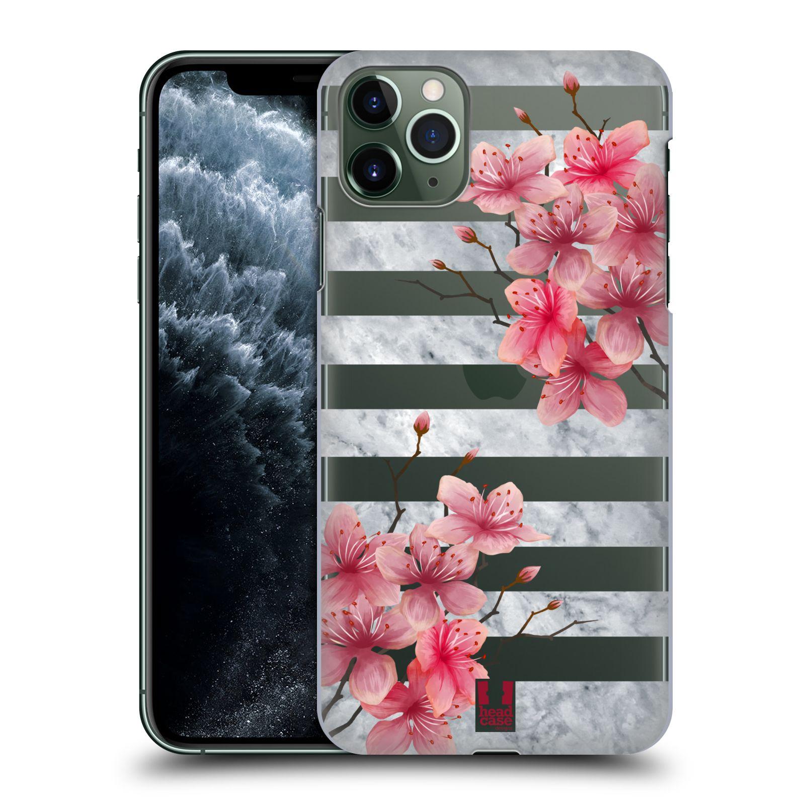 Pouzdro na mobil Apple Iphone 11 PRO MAX - HEAD CASE - růžové květy v rozkvětu a mramor