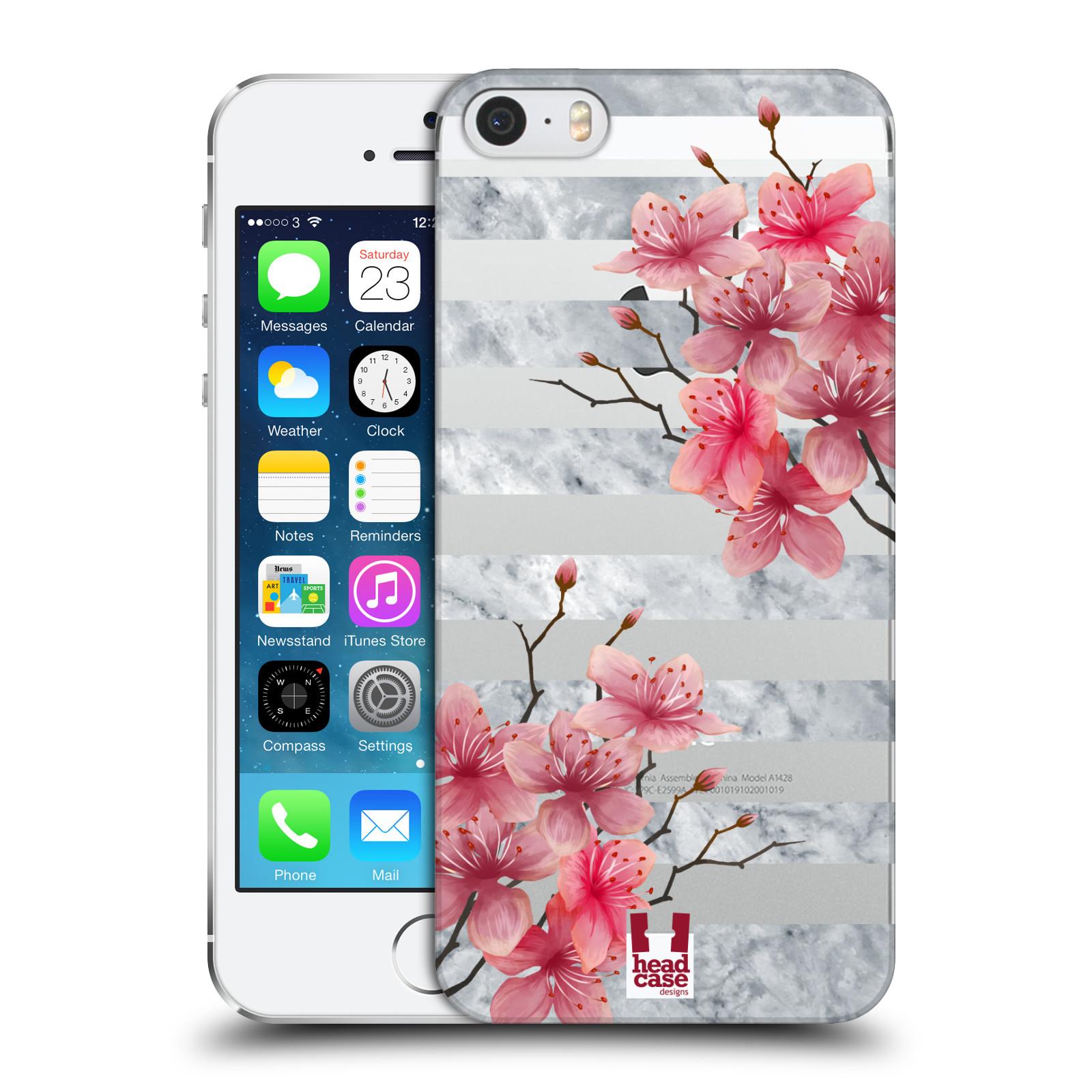 Plastové pouzdro pro mobil Apple Iphone 5 / 5S / SE růžové květy v rozkvětu a mramor