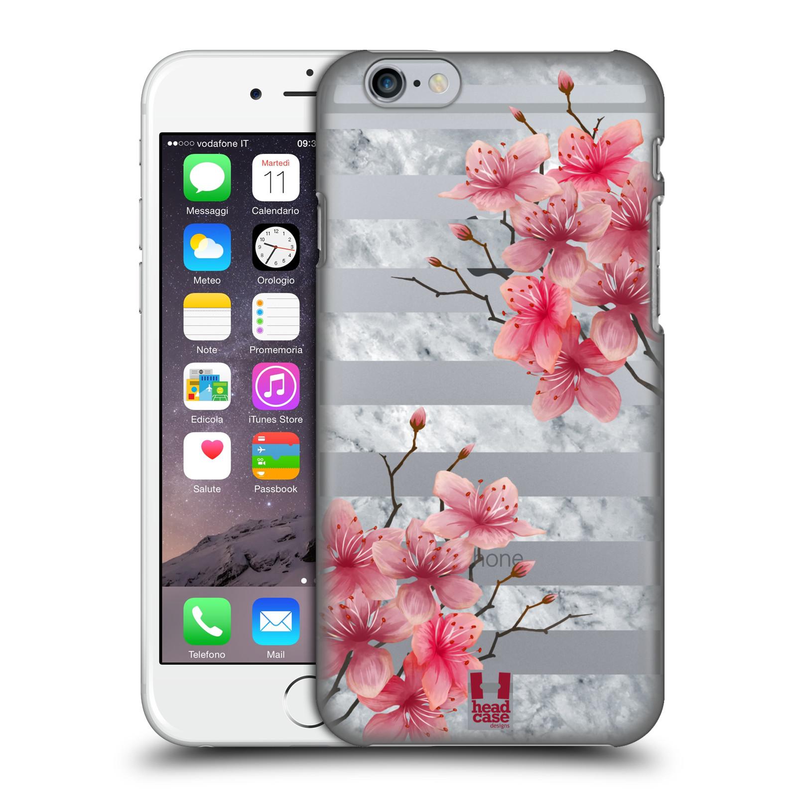 Plastové pouzdro pro mobil Apple Iphone 6/6S růžové květy v rozkvětu a mramor