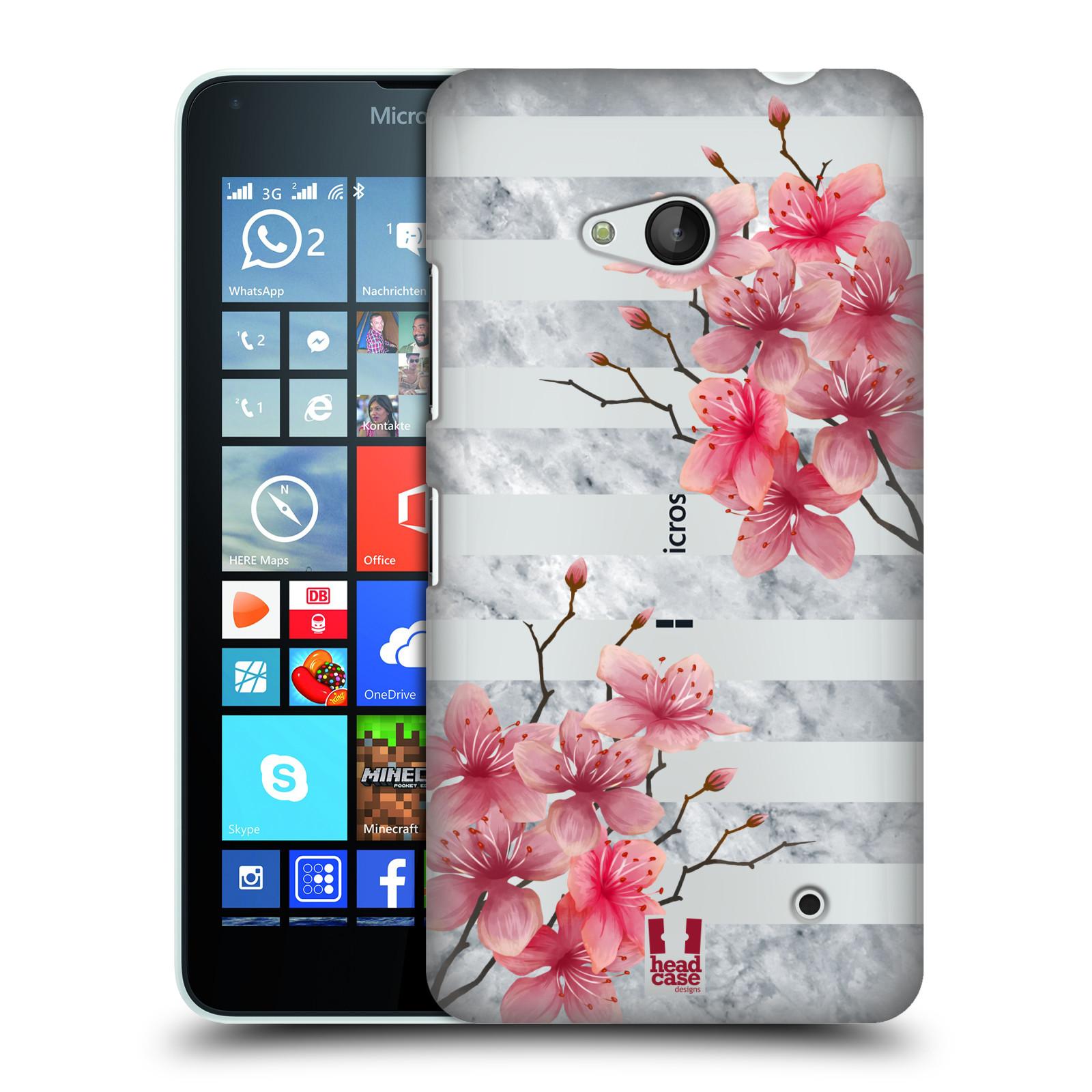 HEAD CASE plastový obal na mobil Nokia Lumia 640 růžové květy v rozkvětu a mramor