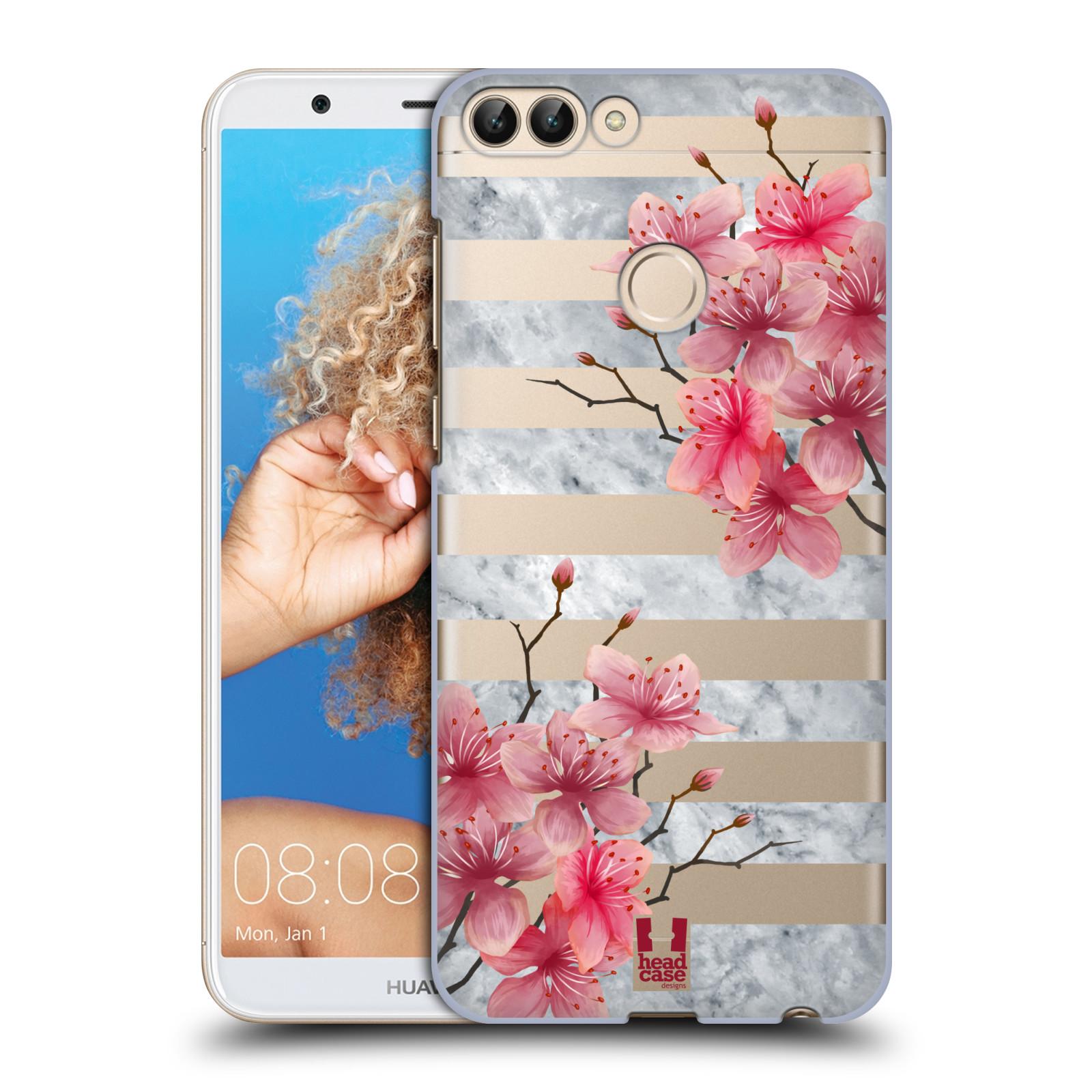HEAD CASE plastový obal na mobil Huawei P Smart růžové květy v rozkvětu a mramor