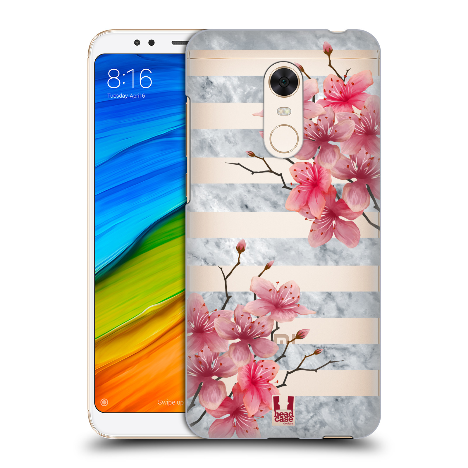 HEAD CASE plastový obal na mobil Xiaomi Redmi 5 PLUS růžové květy v rozkvětu a mramor