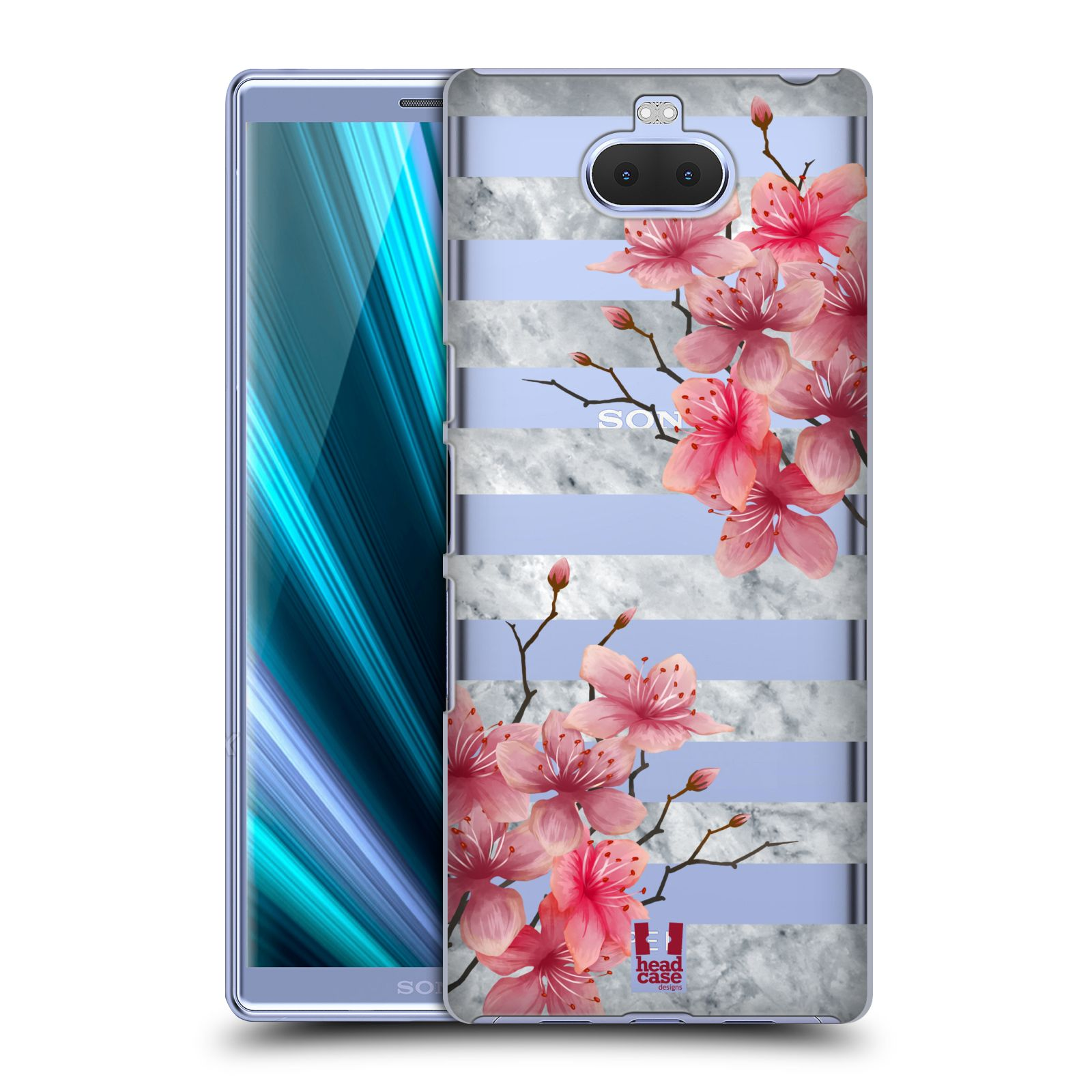Pouzdro na mobil Sony Xperia 10 - Head Case - růžové květy v rozkvětu a mramor
