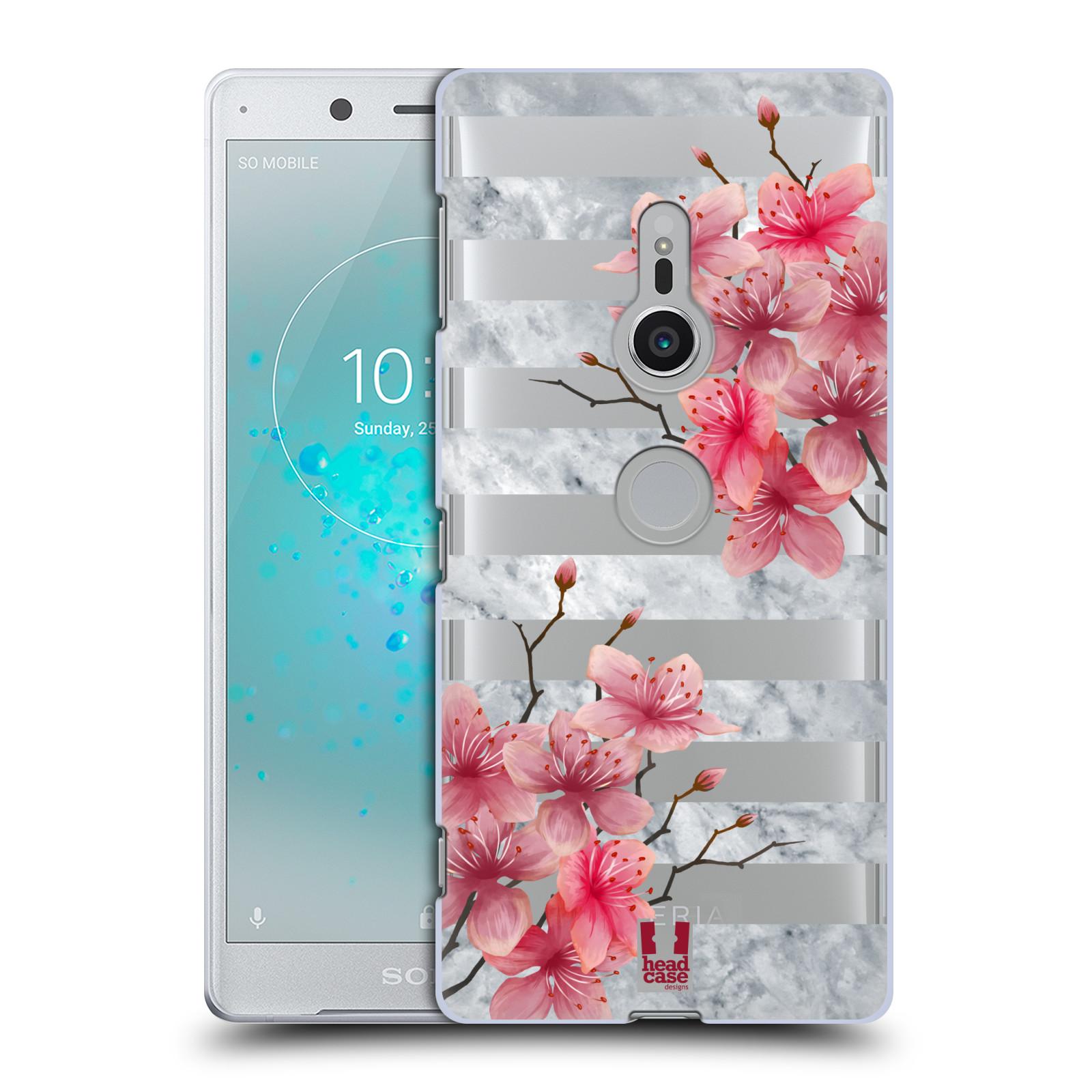 HEAD CASE plastový obal na mobil Sony Xperia XZ2 růžové květy v rozkvětu a mramor