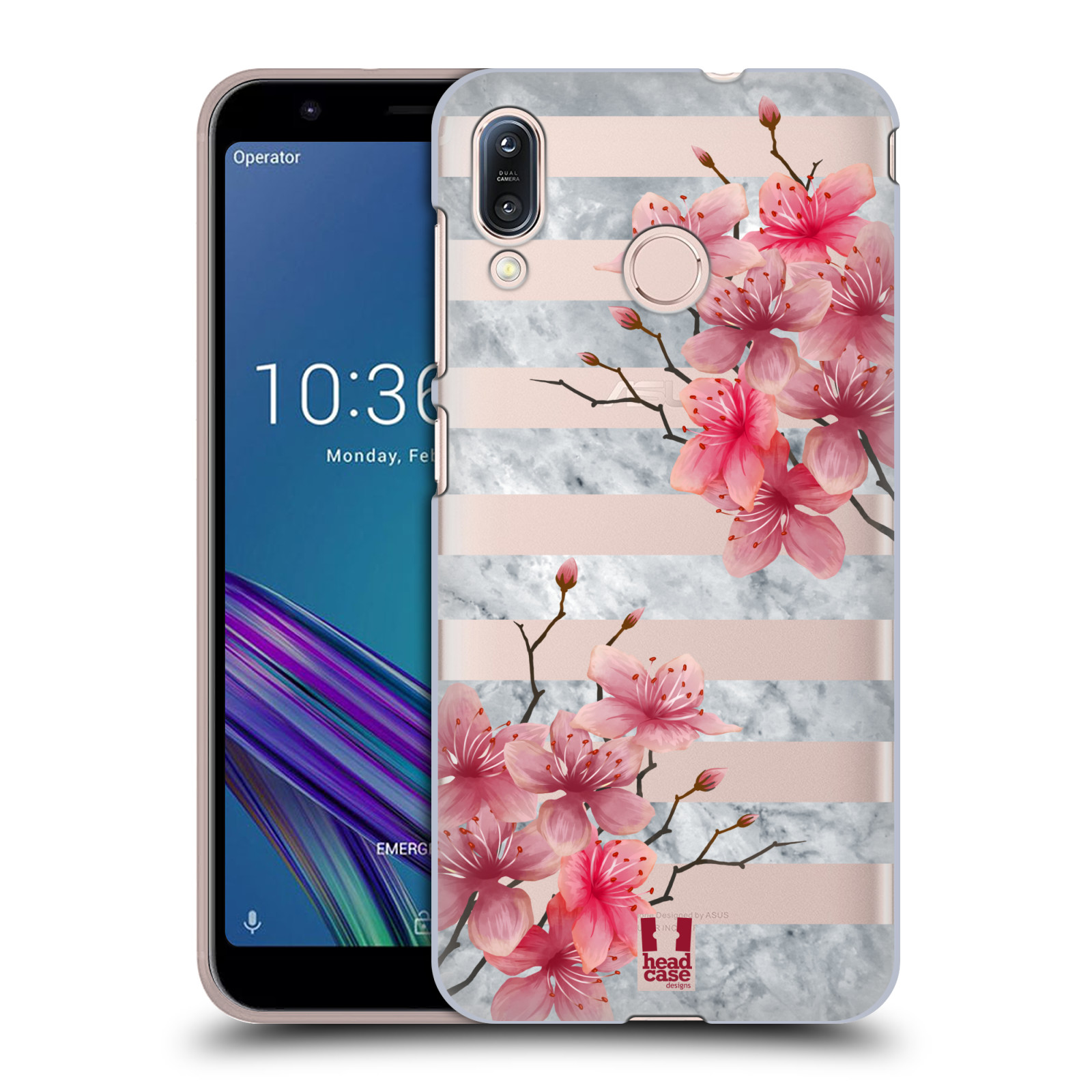 Pouzdro na mobil Asus Zenfone Max M1 (ZB555KL) - HEAD CASE - růžové květy v rozkvětu a mramor