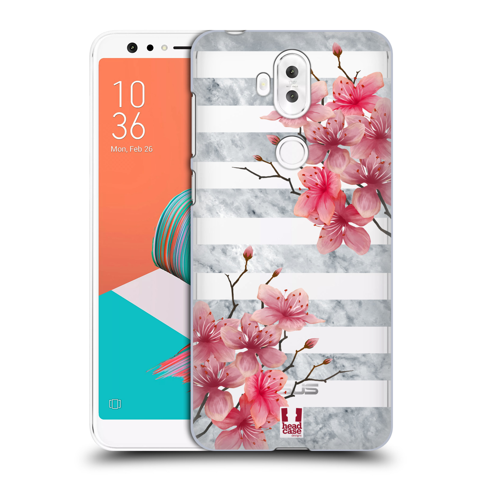 HEAD CASE plastový obal na mobil Asus Zenfone 5 LITE ZC600KL růžové květy v rozkvětu a mramor
