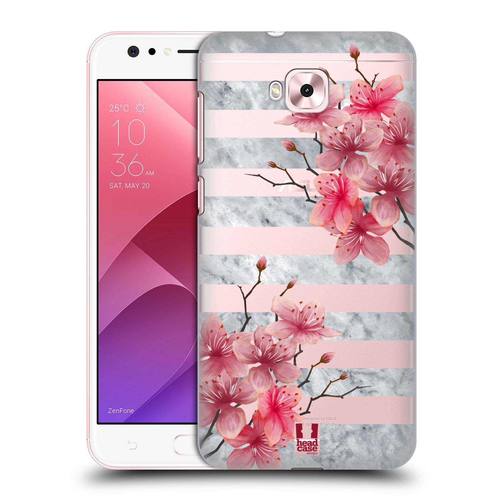 HEAD CASE plastový obal na mobil Asus Zenfone 4 Selfie ZD553KL růžové květy v rozkvětu a mramor
