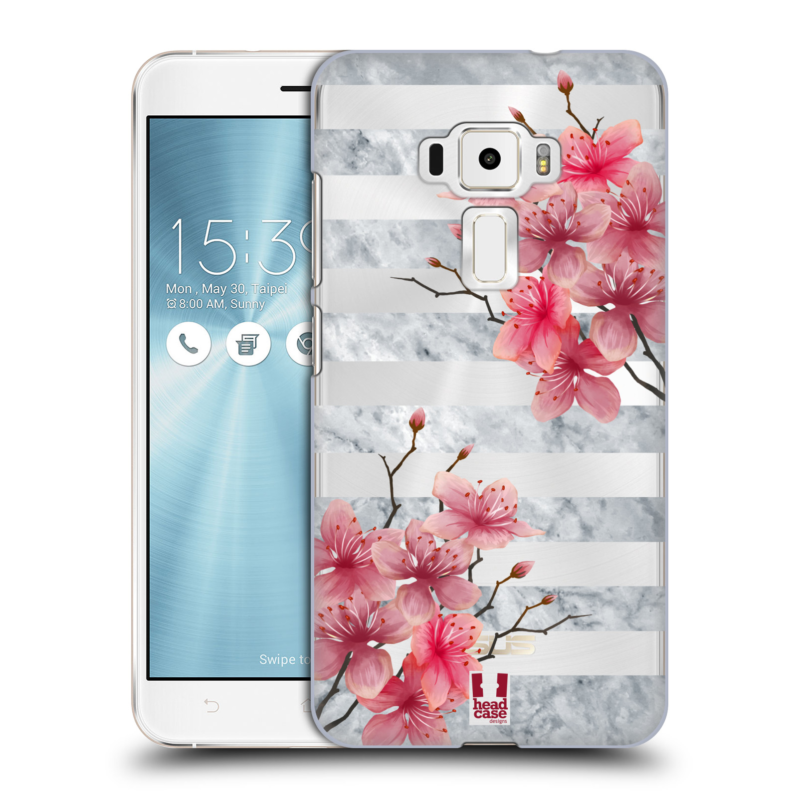 HEAD CASE plastový obal na mobil Asus Zenfone 3 ZE552KL růžové květy v rozkvětu a mramor