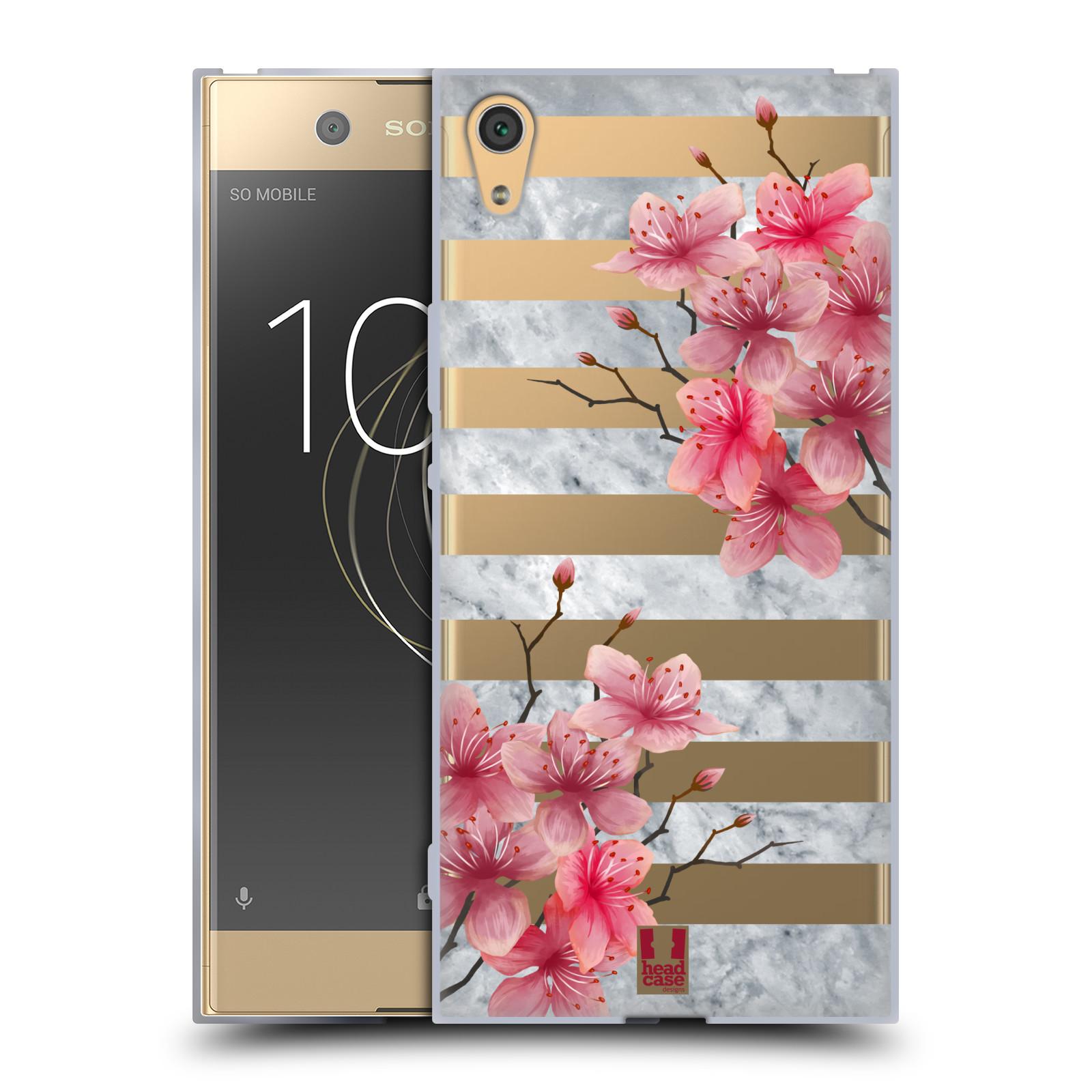 HEAD CASE silikonový obal na mobil Sony Xperia XA1 ULTRA růžové květy v rozkvětu a mramor