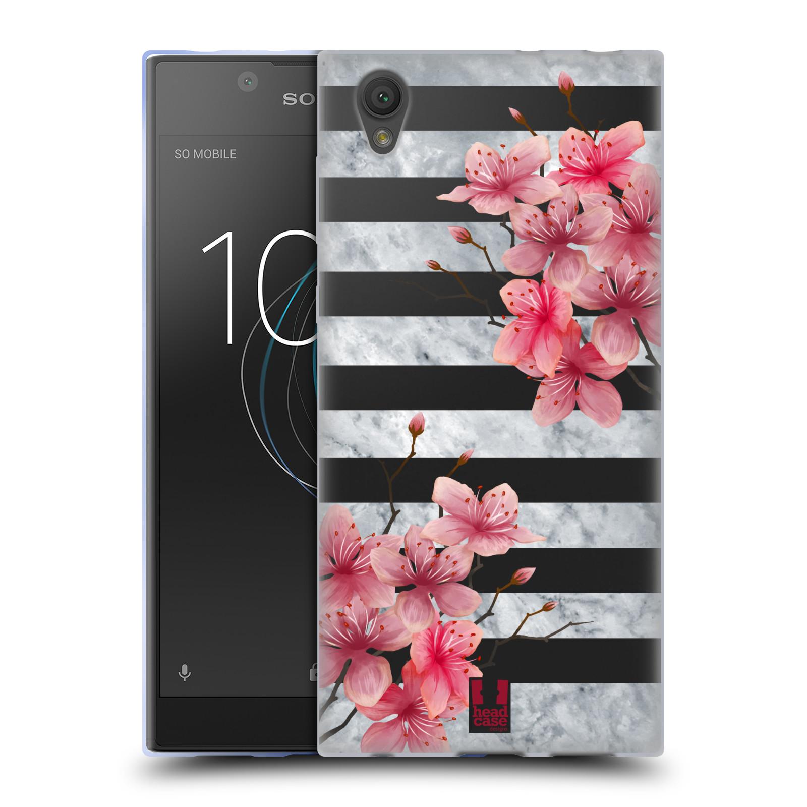 HEAD CASE silikonový obal na mobil Sony Xperia L1 růžové květy v rozkvětu a mramor