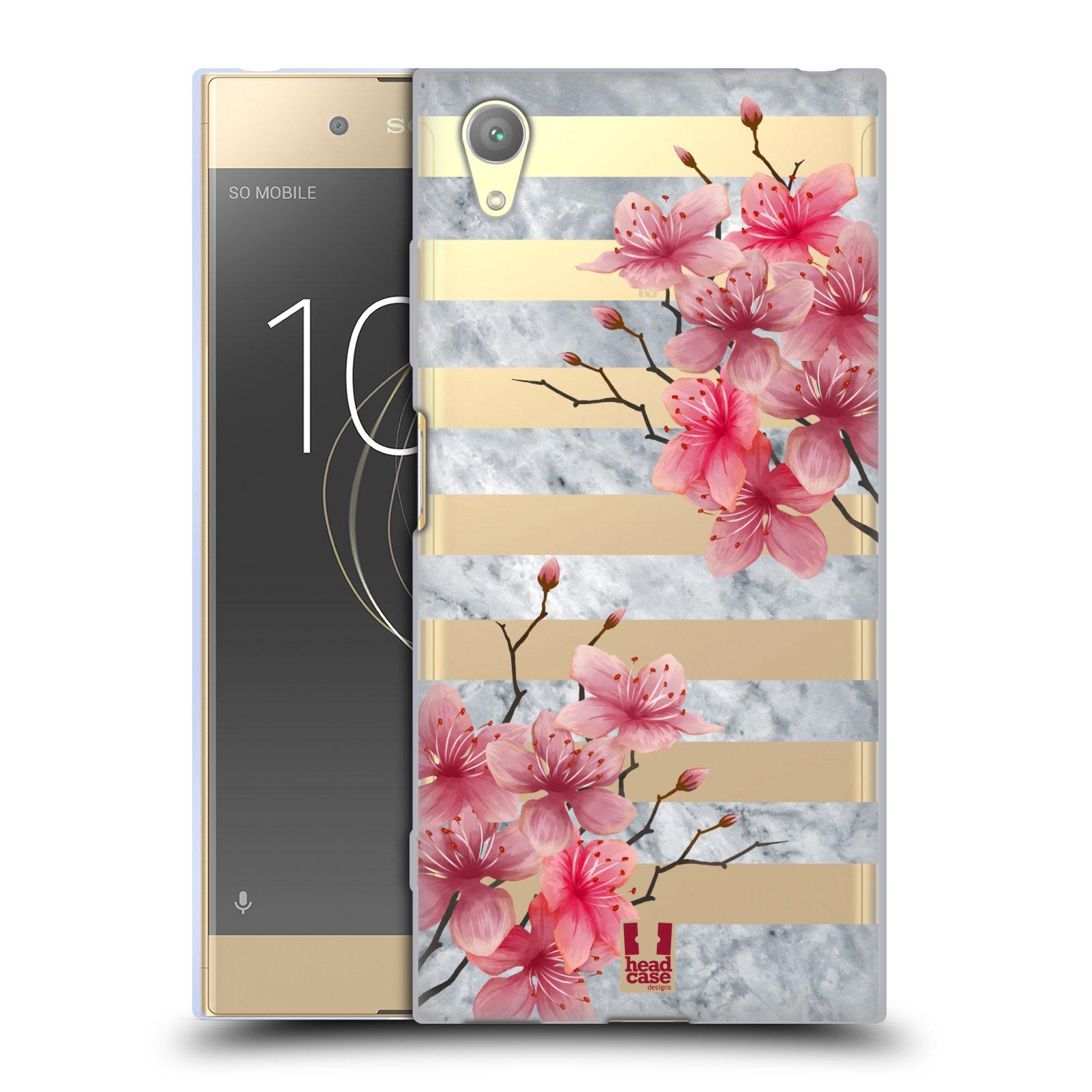 HEAD CASE silikonový obal na mobil Sony Xperia XA1 PLUS růžové květy v rozkvětu a mramor