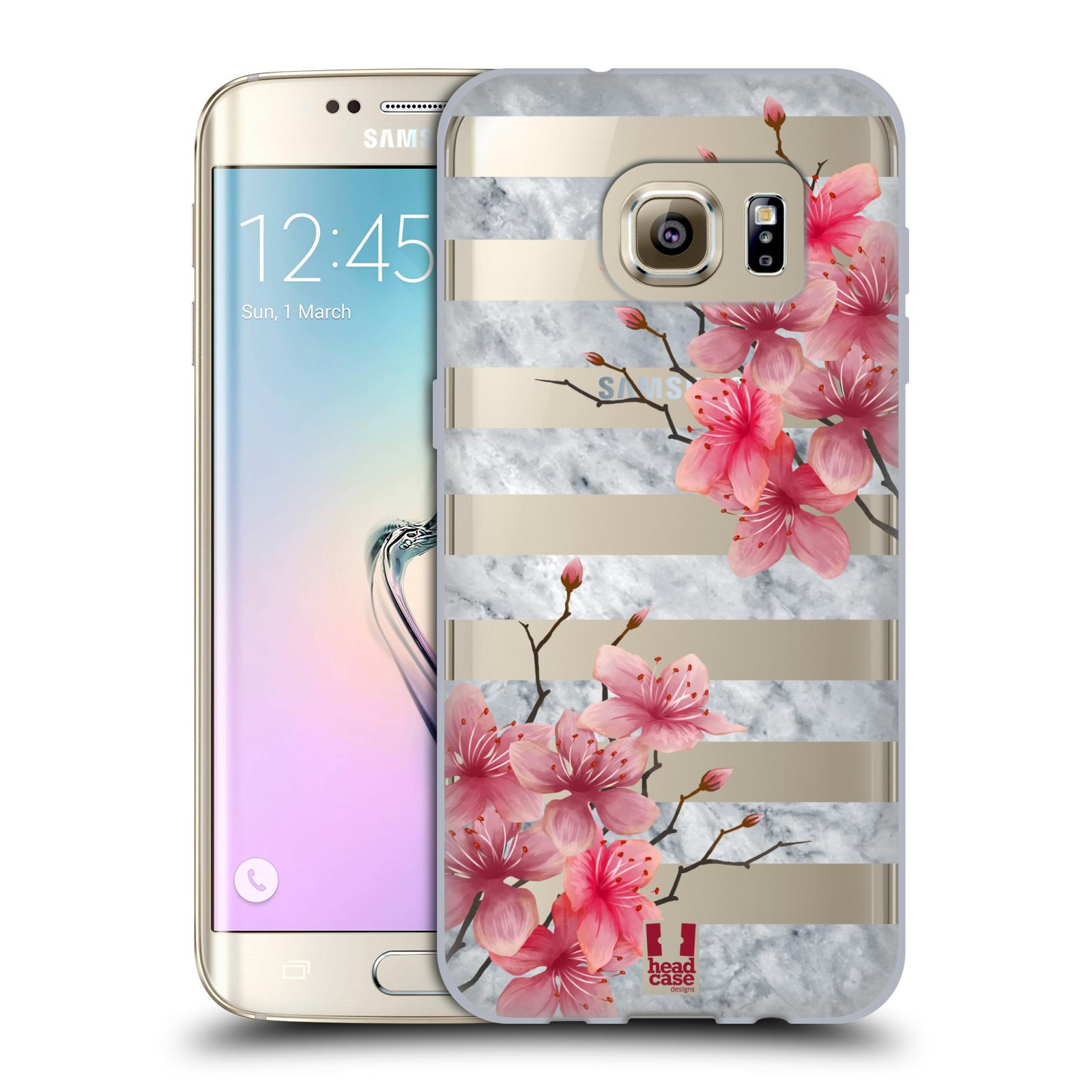 HEAD CASE silikonový obal na mobil Samsung Galaxy S7 EDGE růžové květy v  rozkvětu a mramor 4e6aedd5d46
