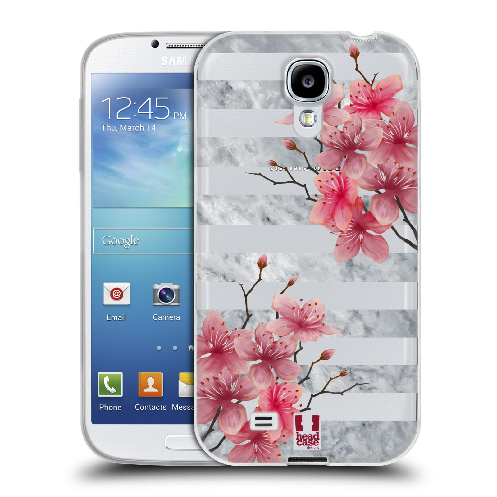 HEAD CASE silikonový obal na mobil Samsung Galaxy S4 růžové květy v rozkvětu  a mramor 1673609fd39