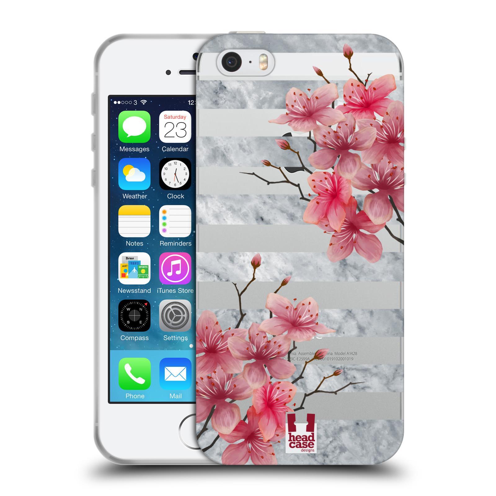 HEAD CASE silikonový obal na mobil Apple Iphone 5 5S růžové květy v rozkvětu  a mramor aca301860f7
