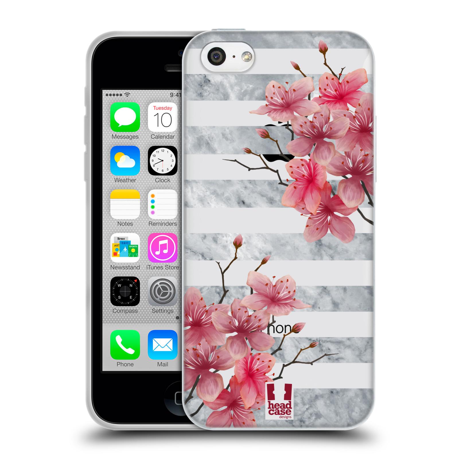 HEAD CASE silikonový obal na mobil Apple Iphone 5C růžové květy v rozkvětu  a mramor b40de8e3568