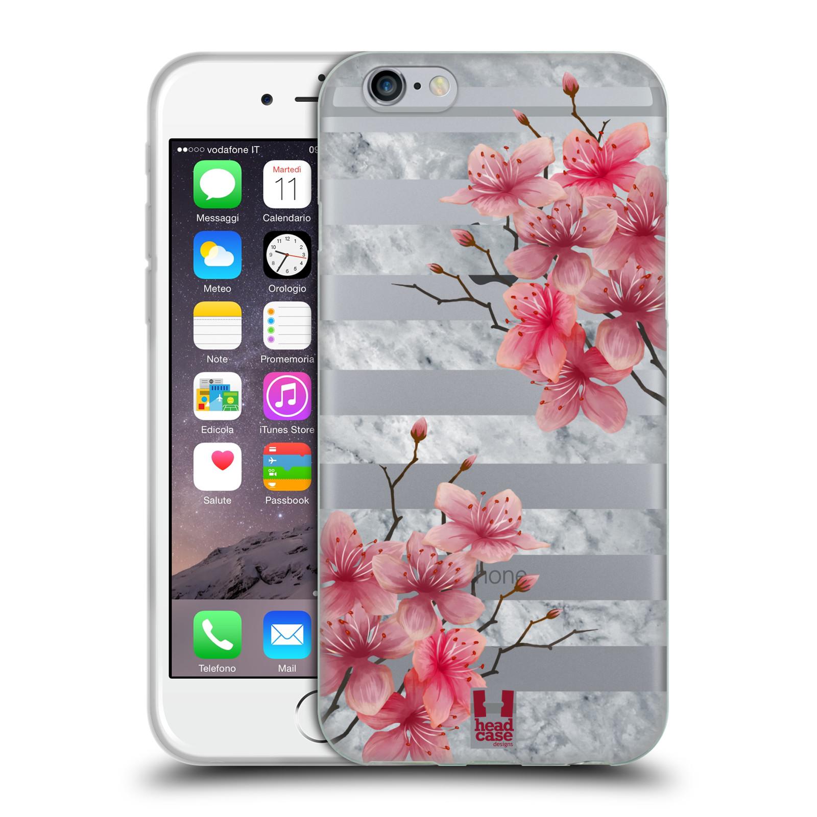 HEAD CASE silikonový obal na mobil Apple Iphone 6 6S růžové květy v rozkvětu  a mramor c5aaaac381c