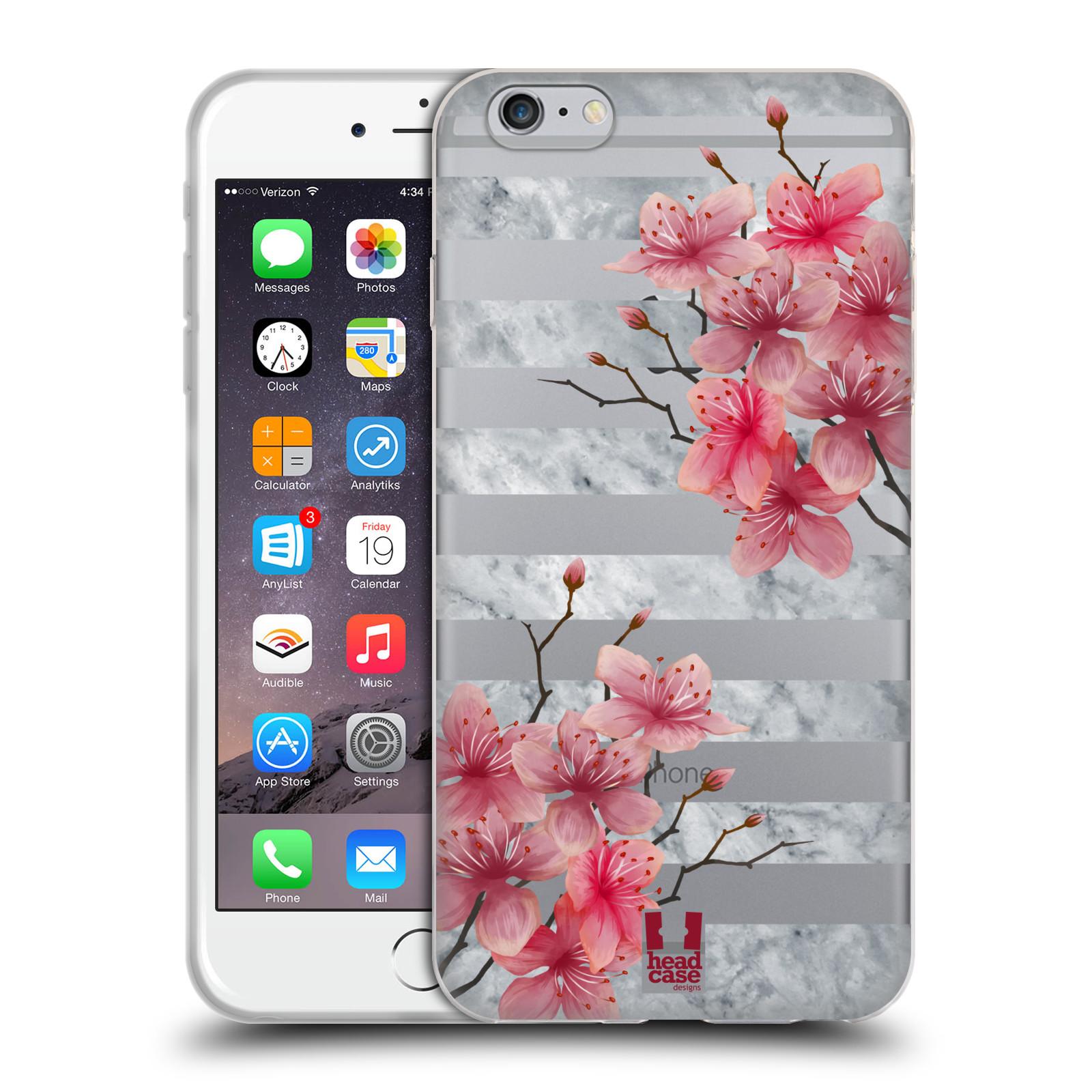 HEAD CASE silikonový obal na mobil Apple Iphone 6/6S PLUS růžové květy v rozkvětu a mramor