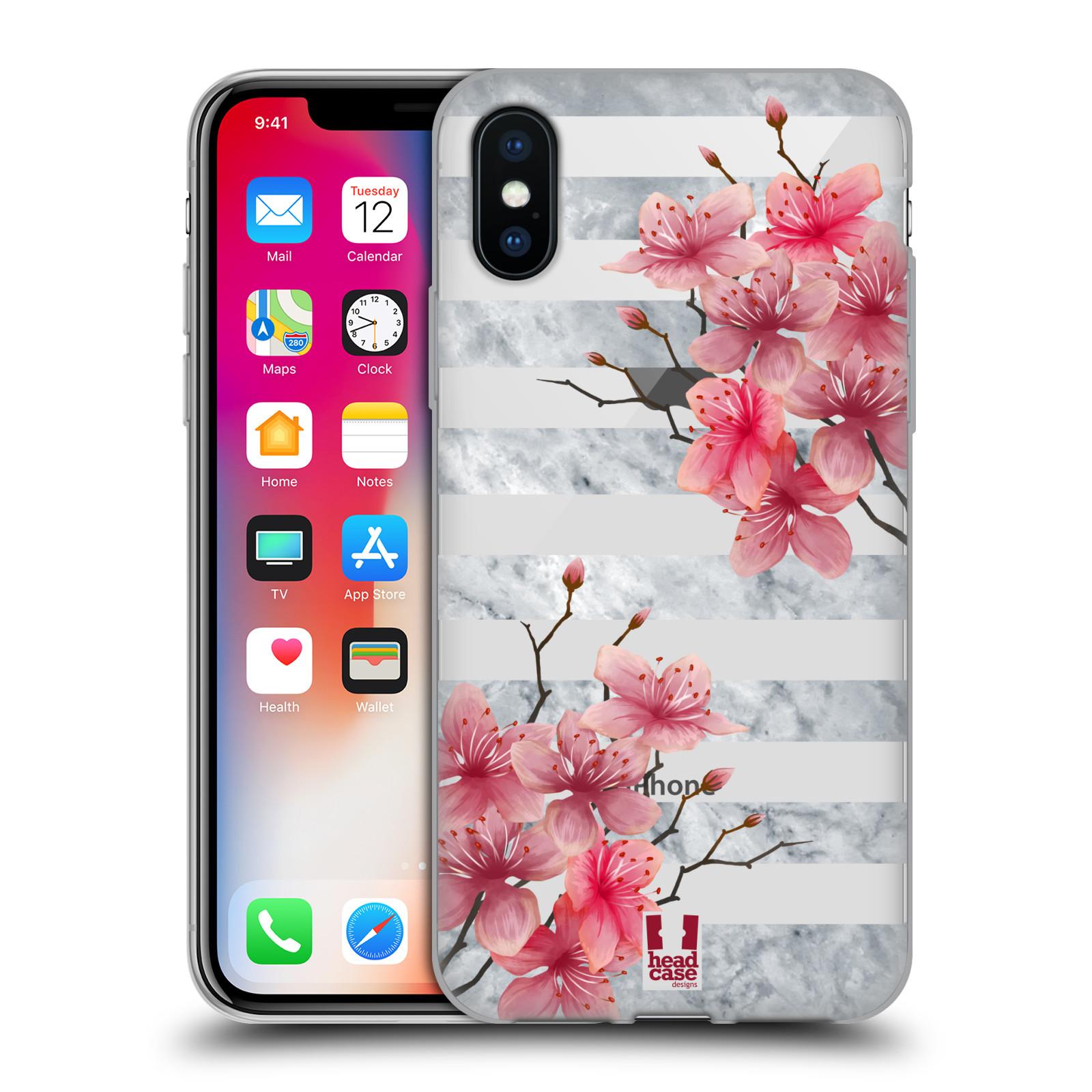 HEAD CASE silikonový obal na mobil Apple Iphone X růžové květy v rozkvětu a  mramor b4bb314e4f8