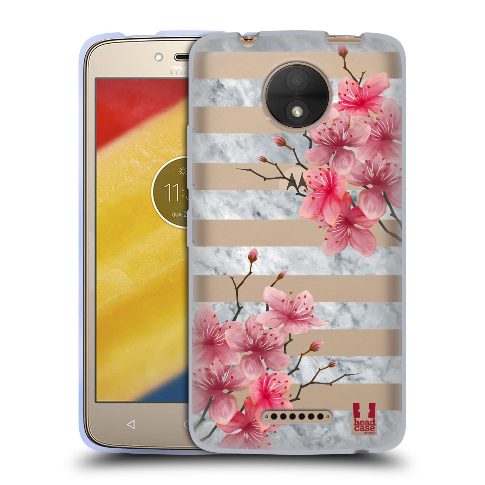 HEAD CASE silikonový obal na mobil Lenovo Moto C růžové květy v rozkvětu a  mramor 9a4b6b9f5ff