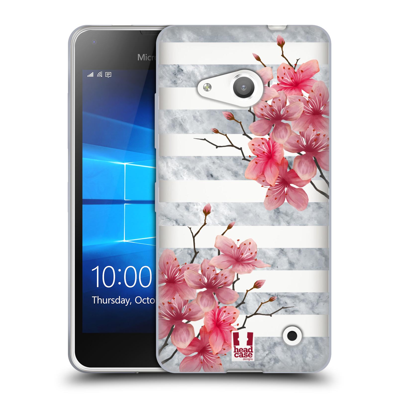 HEAD CASE silikonový obal na mobil Microsoft Lumia 550 růžové květy v rozkvětu a mramor