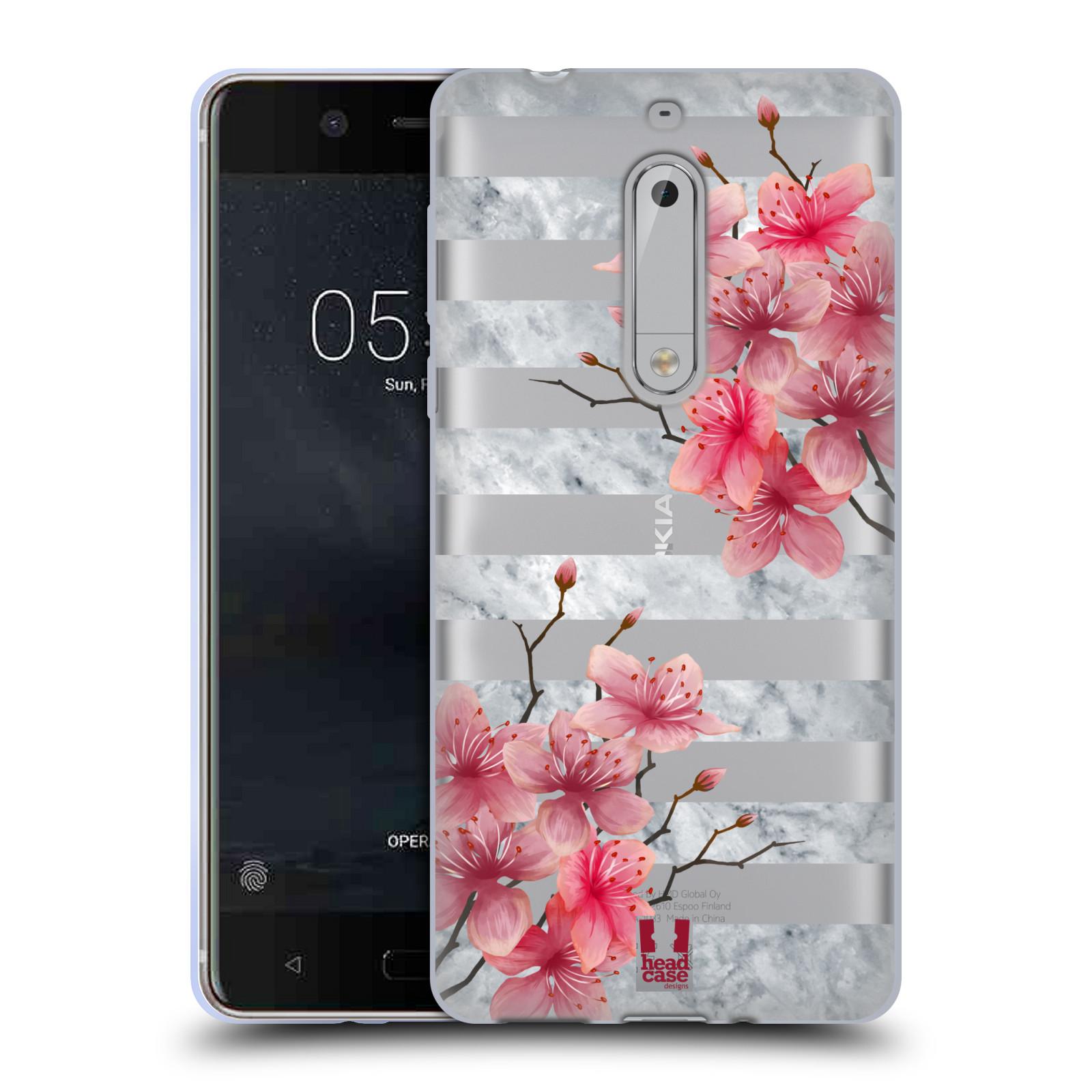 HEAD CASE silikonový obal na mobil Nokia 5 růžové květy v rozkvětu a mramor
