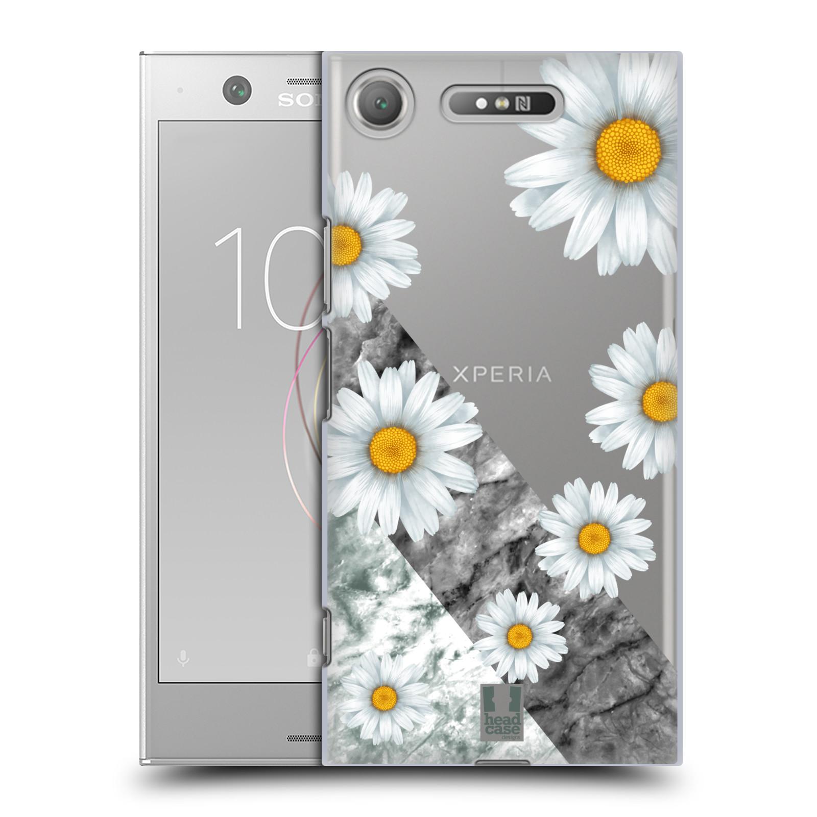 HEAD CASE plastový obal na mobil Sony Xperia XZ1 květina sedmikráska a mramor