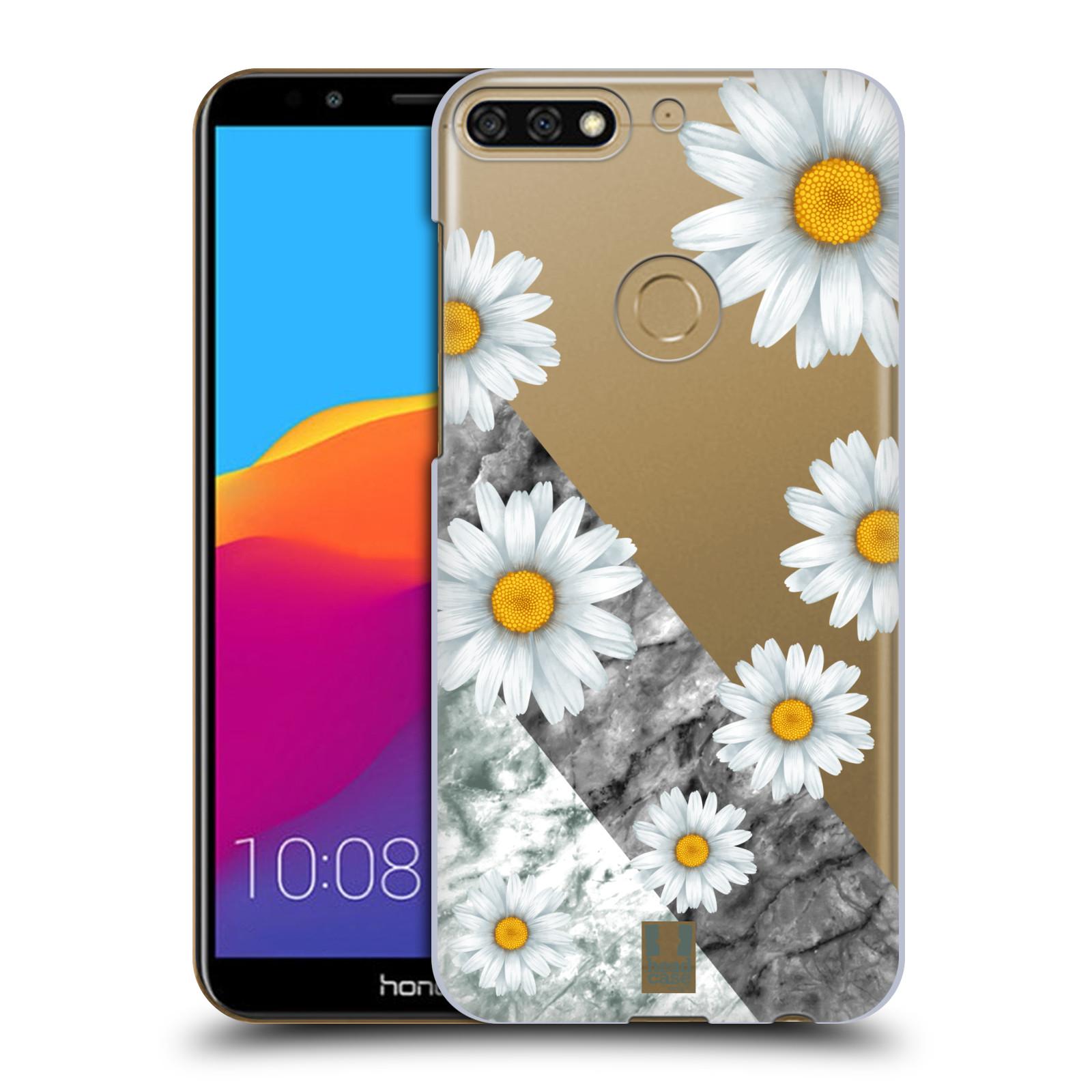 HEAD CASE plastový obal na mobil Honor 7c květina sedmikráska a mramor