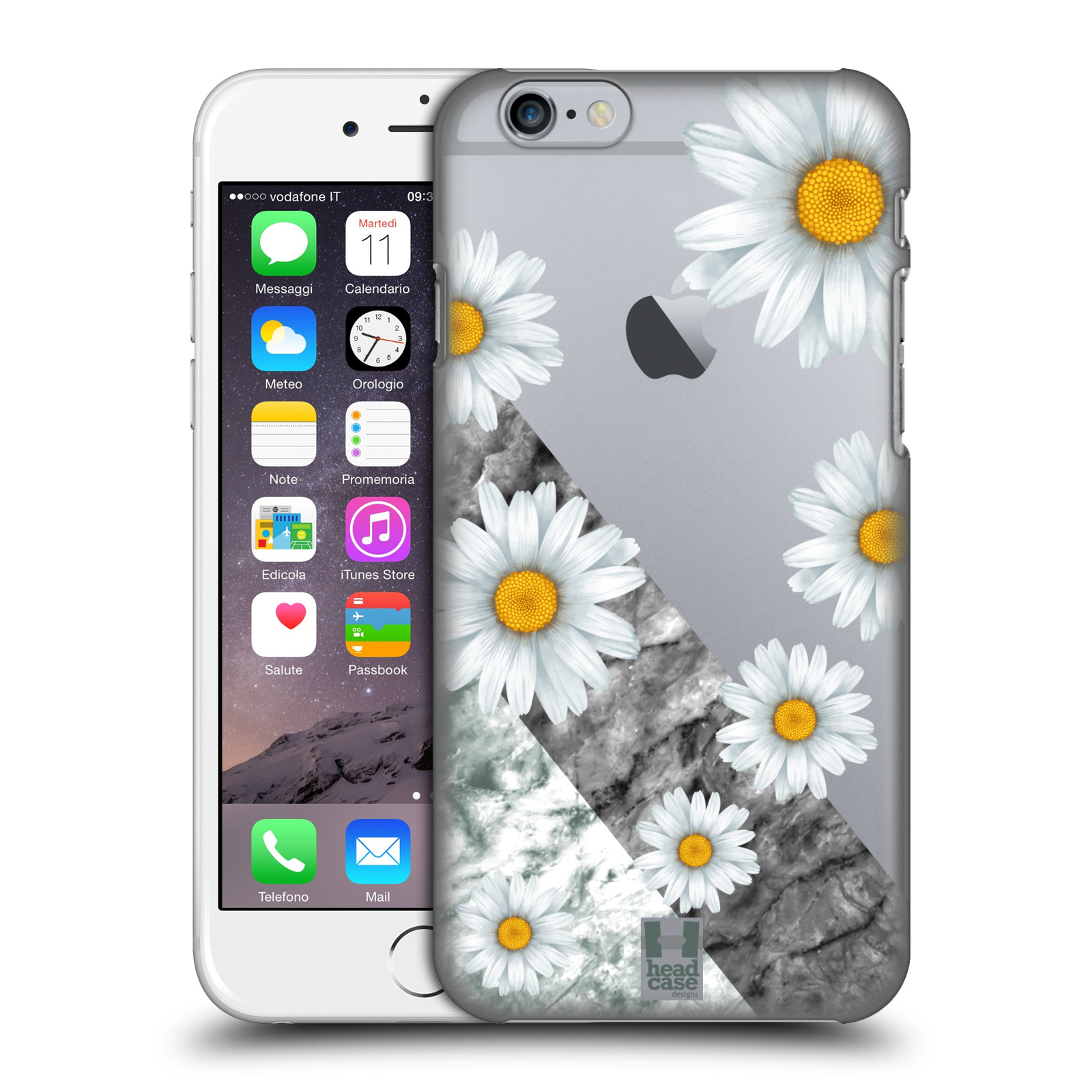 Plastové pouzdro pro mobil Apple Iphone 6/6S květina sedmikráska a mramor