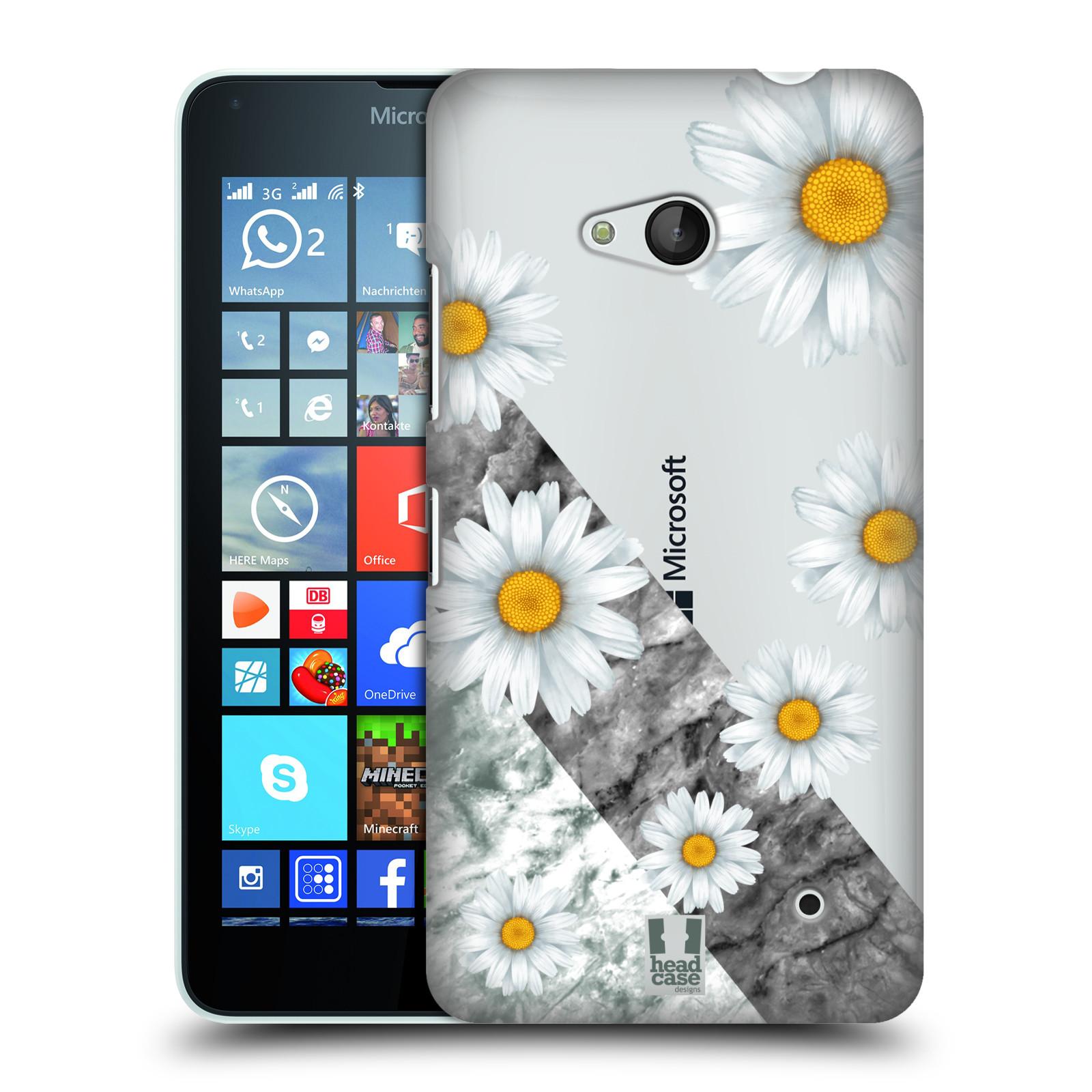 HEAD CASE plastový obal na mobil Nokia Lumia 640 květina sedmikráska a mramor