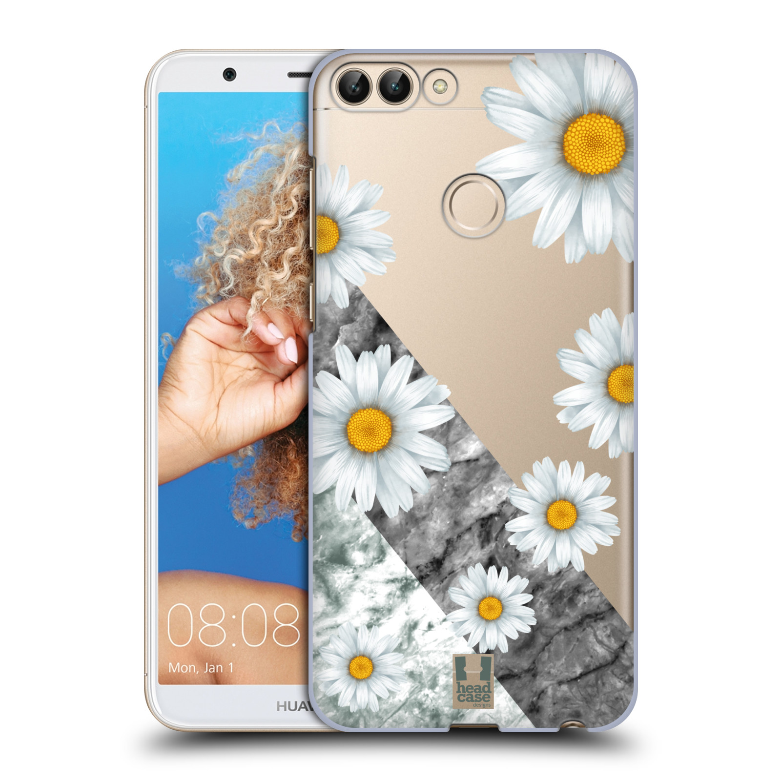 HEAD CASE plastový obal na mobil Huawei P Smart květina sedmikráska a mramor