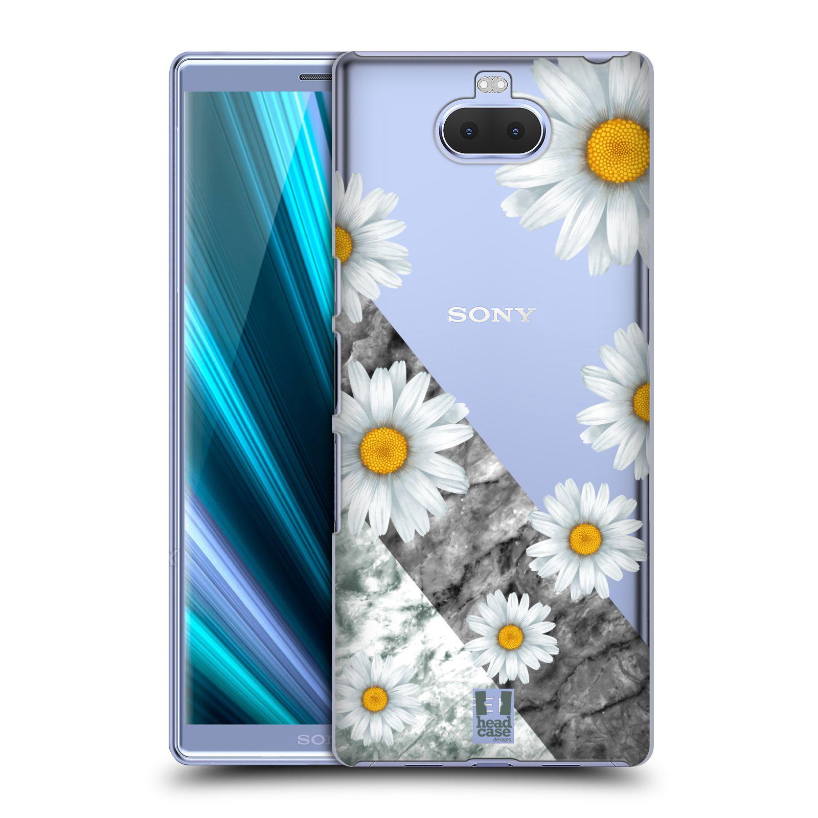 Pouzdro na mobil Sony Xperia 10 - Head Case - květina sedmikráska a mramor